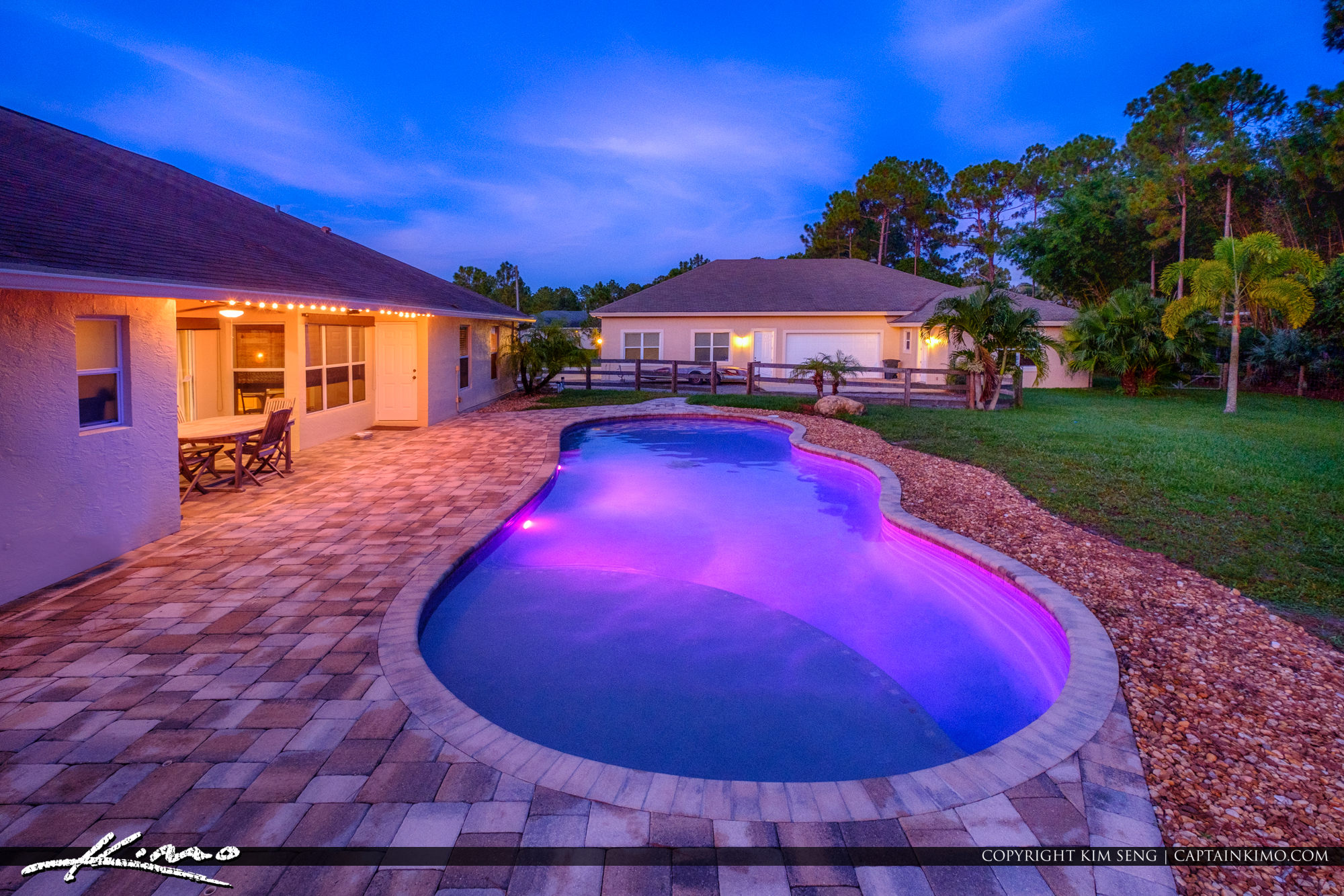 Real Estate Photography Loxahatchee Florida Twilight Pool Shot