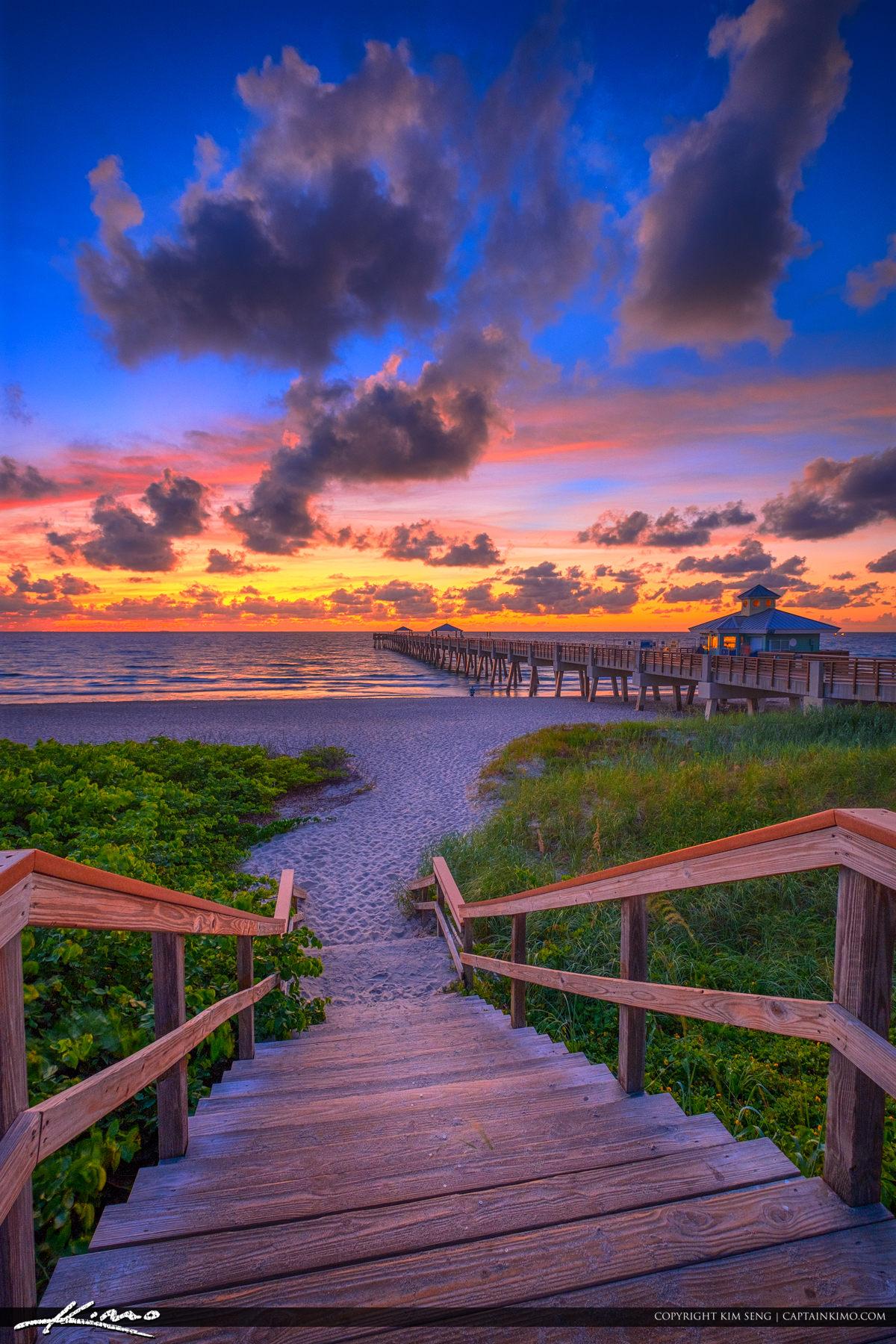 Stairs Down to Beach Juno Beach Pier Sunrise