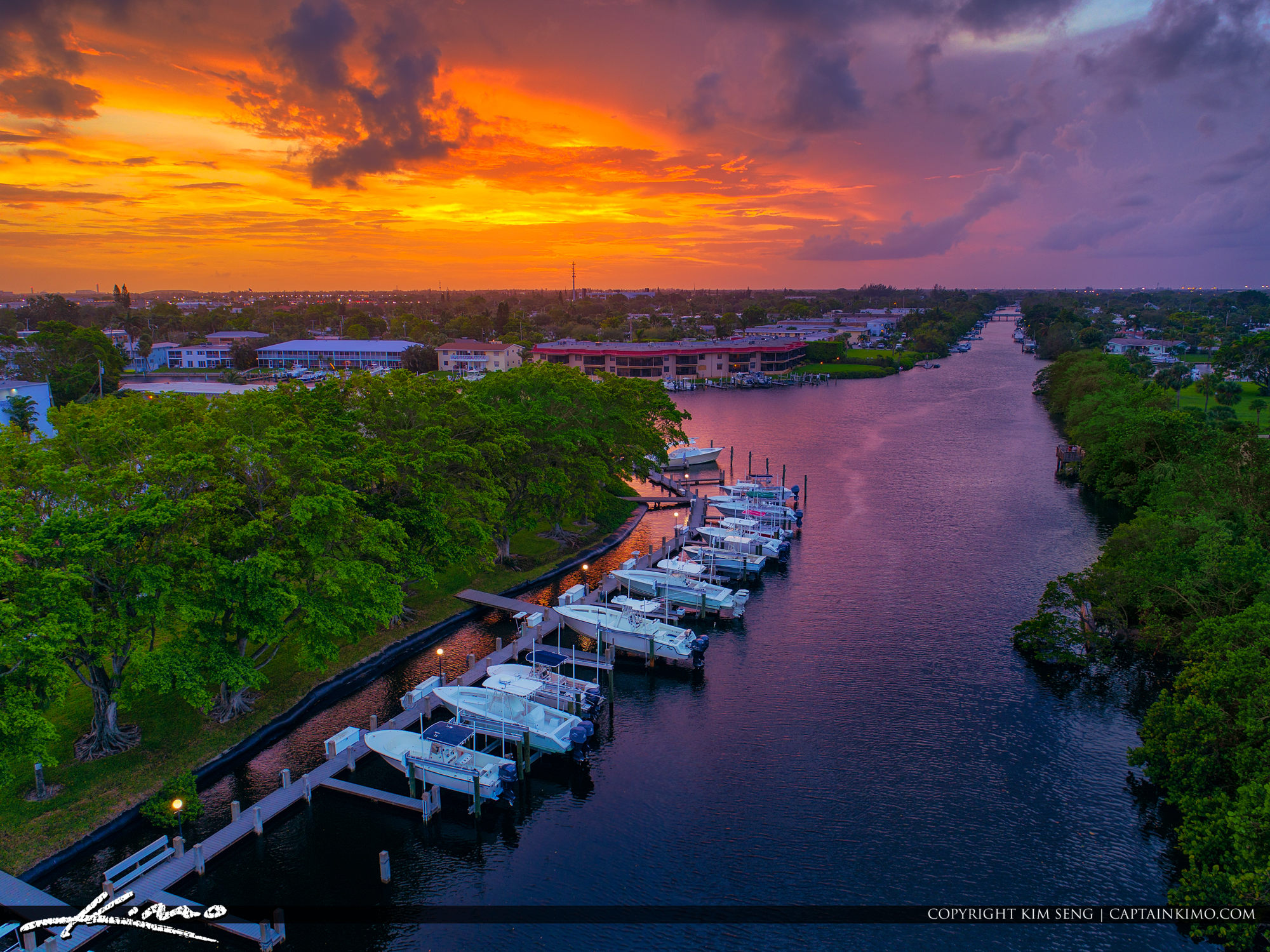 North Palm Beach Sunset Waterway Boats on Dock