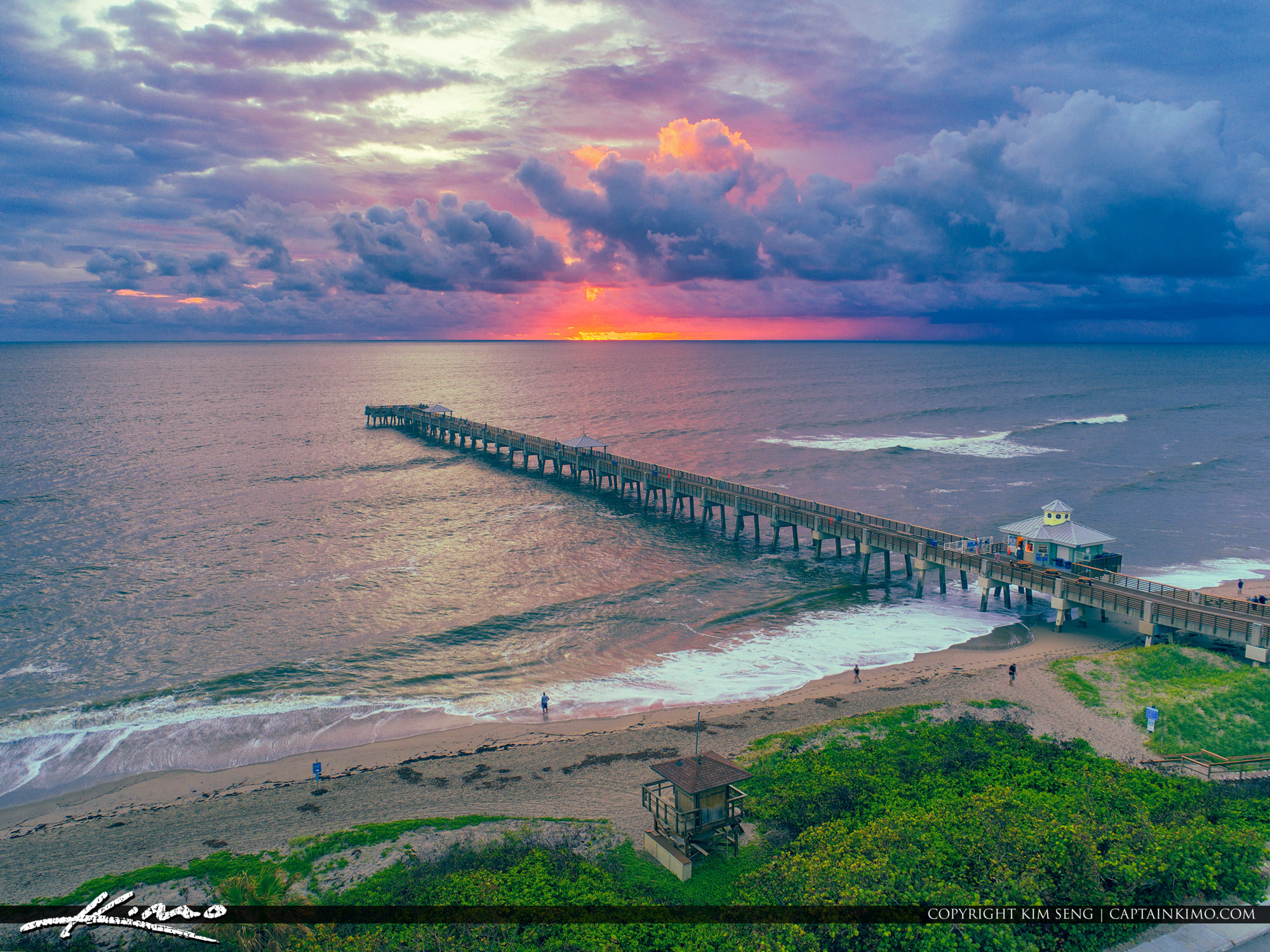 HDR Photography Aerial Sunrise from Juno Beach Pier