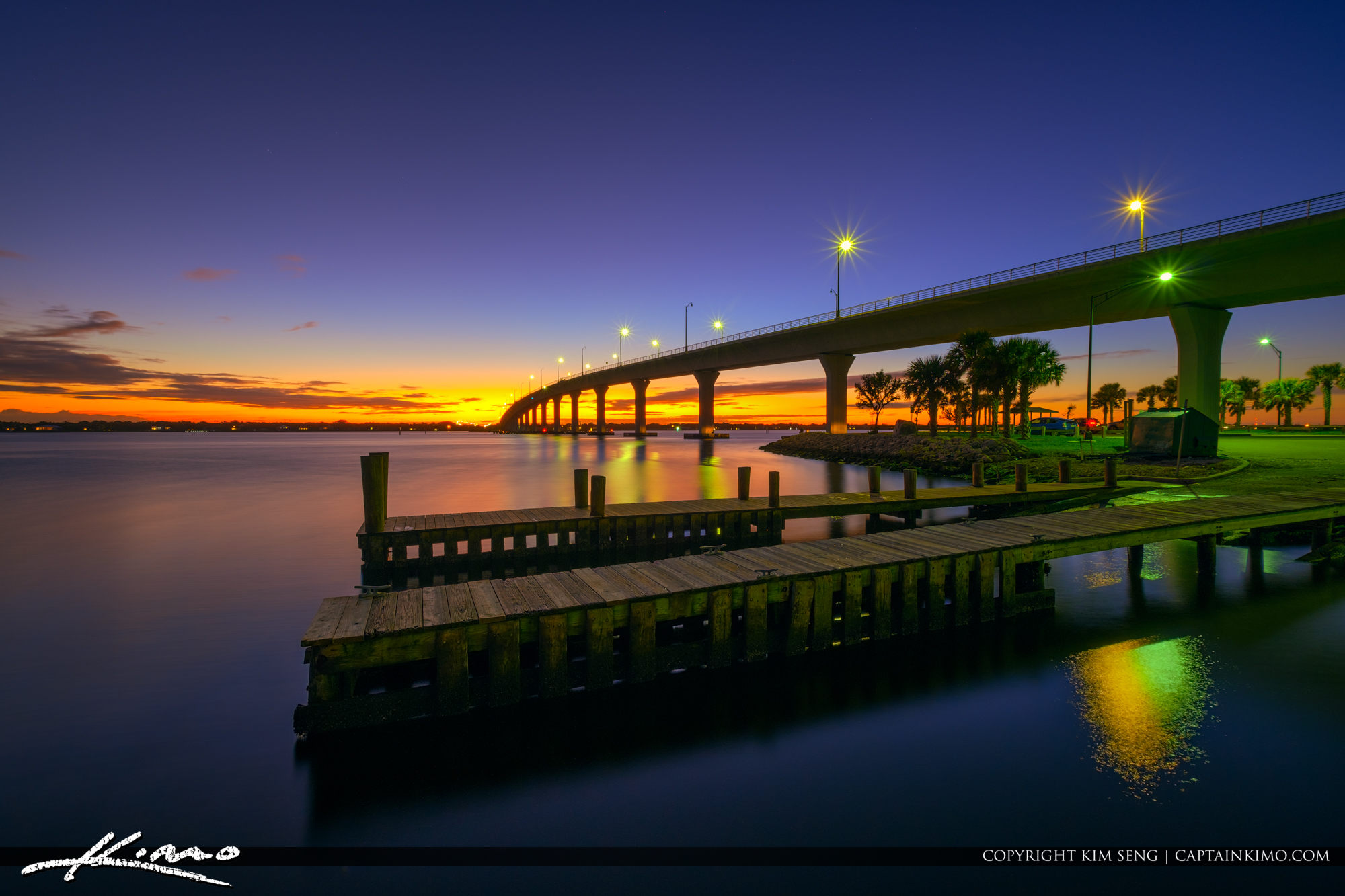 Sunset Bridge Stuart Florida to Hutchinson Island at Boatramp