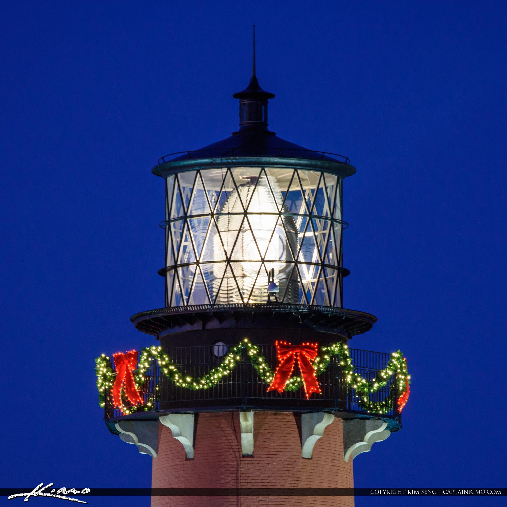 Jupiter Lighthouse Upclose Holiday Decorations