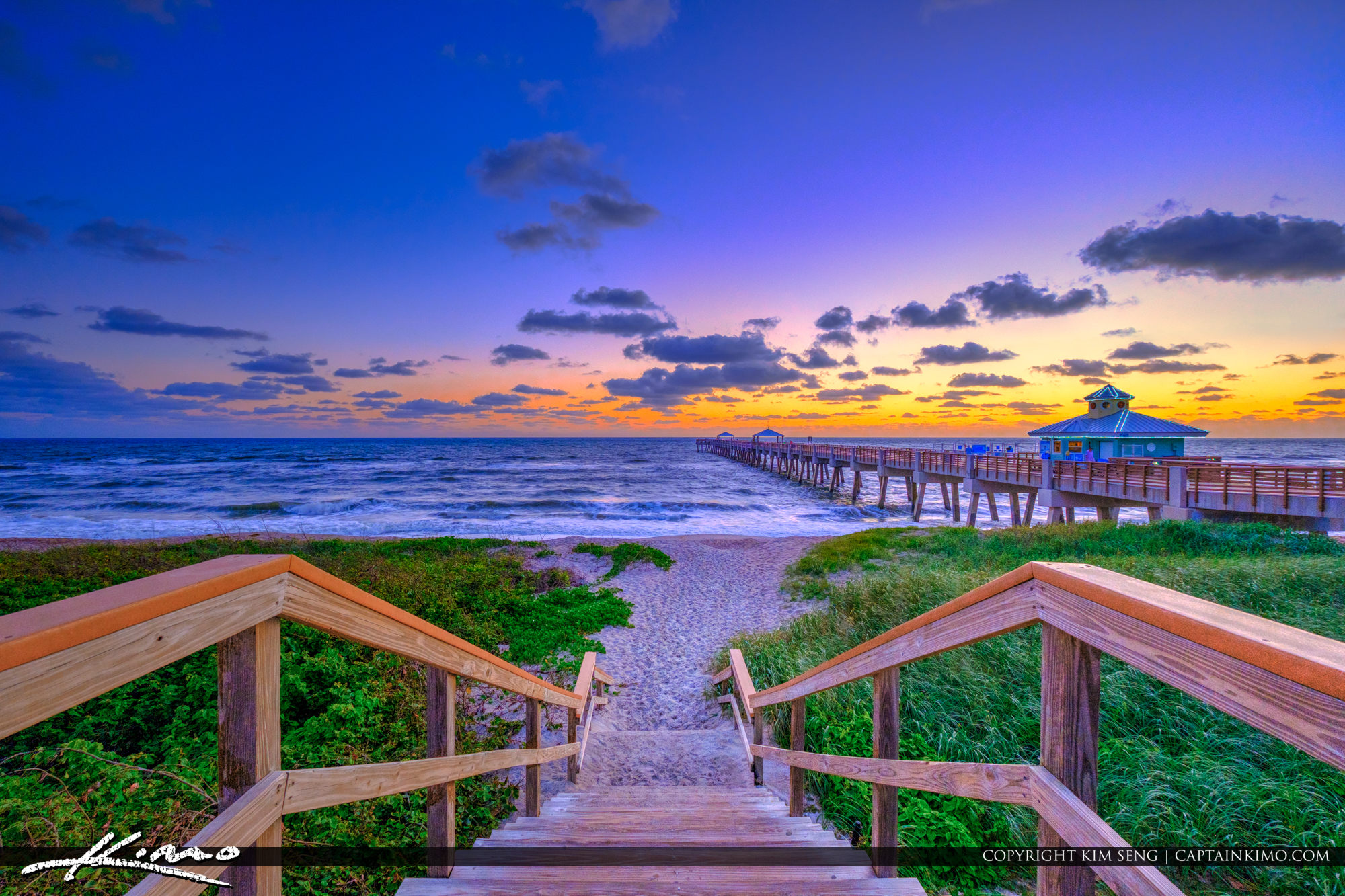 Juno Beach Pier Sunrise Colors During Christmas Holiday