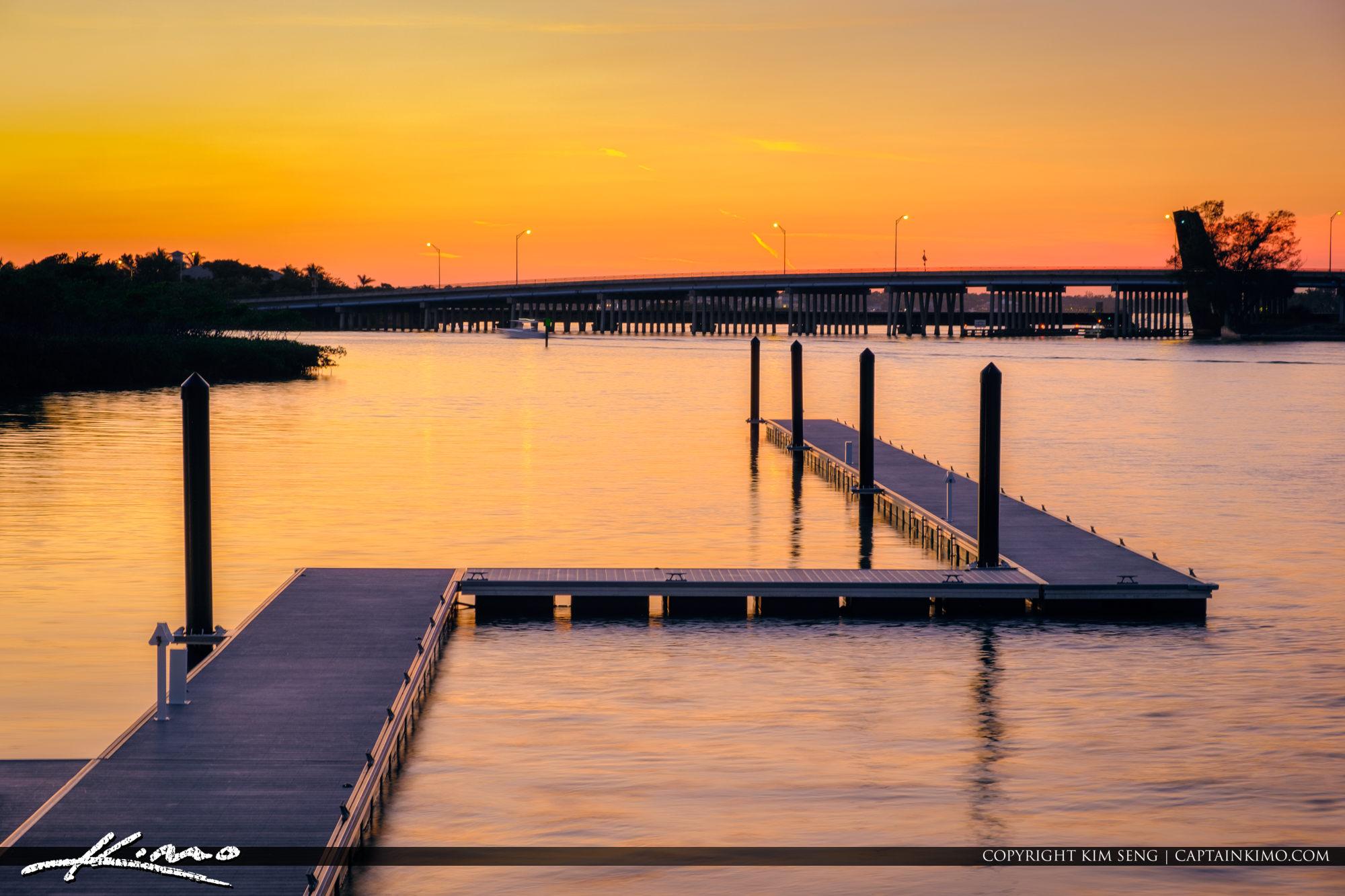 1000 North Floating Dock at Sunset Jupiter Florida
