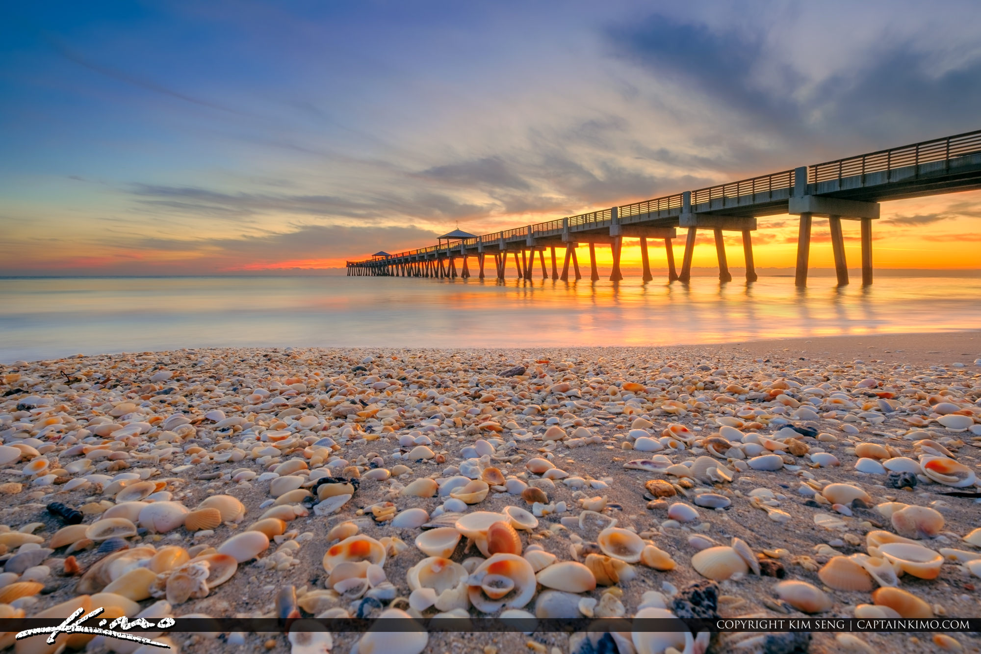 juno beach pier seashells at beach christmas sunrise