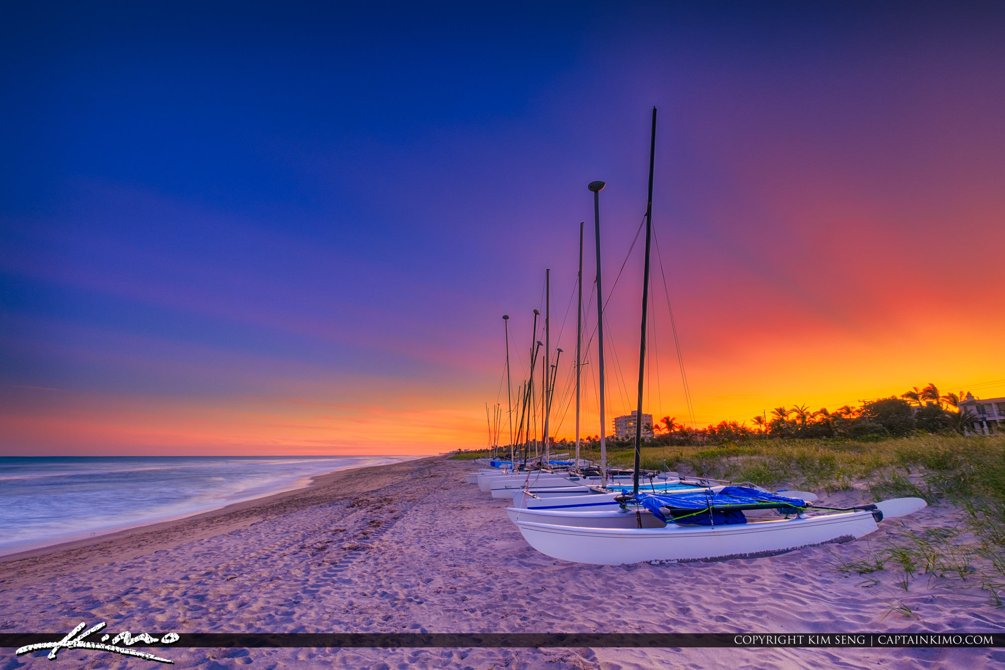 Delray Beach Florida Sunset From Beach with Sailboats