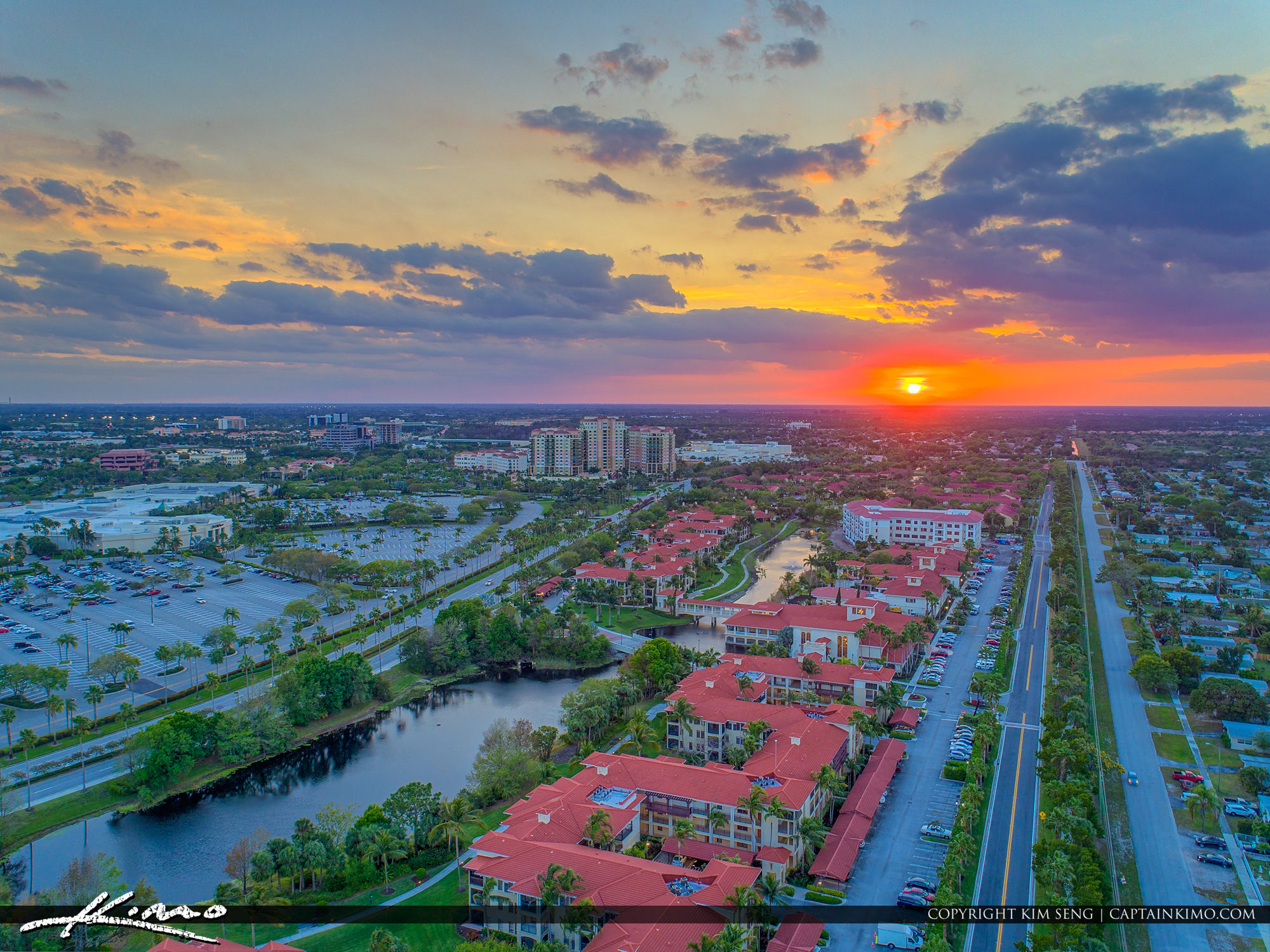 Palm Beach Gardens Aerial Sunset From Mall