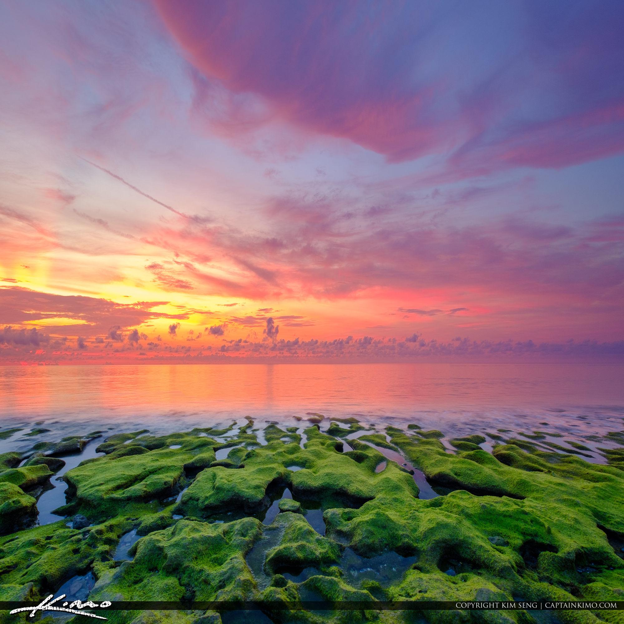 Coral Cove Green Rock Sunsrise Over Jupiter Island Beach