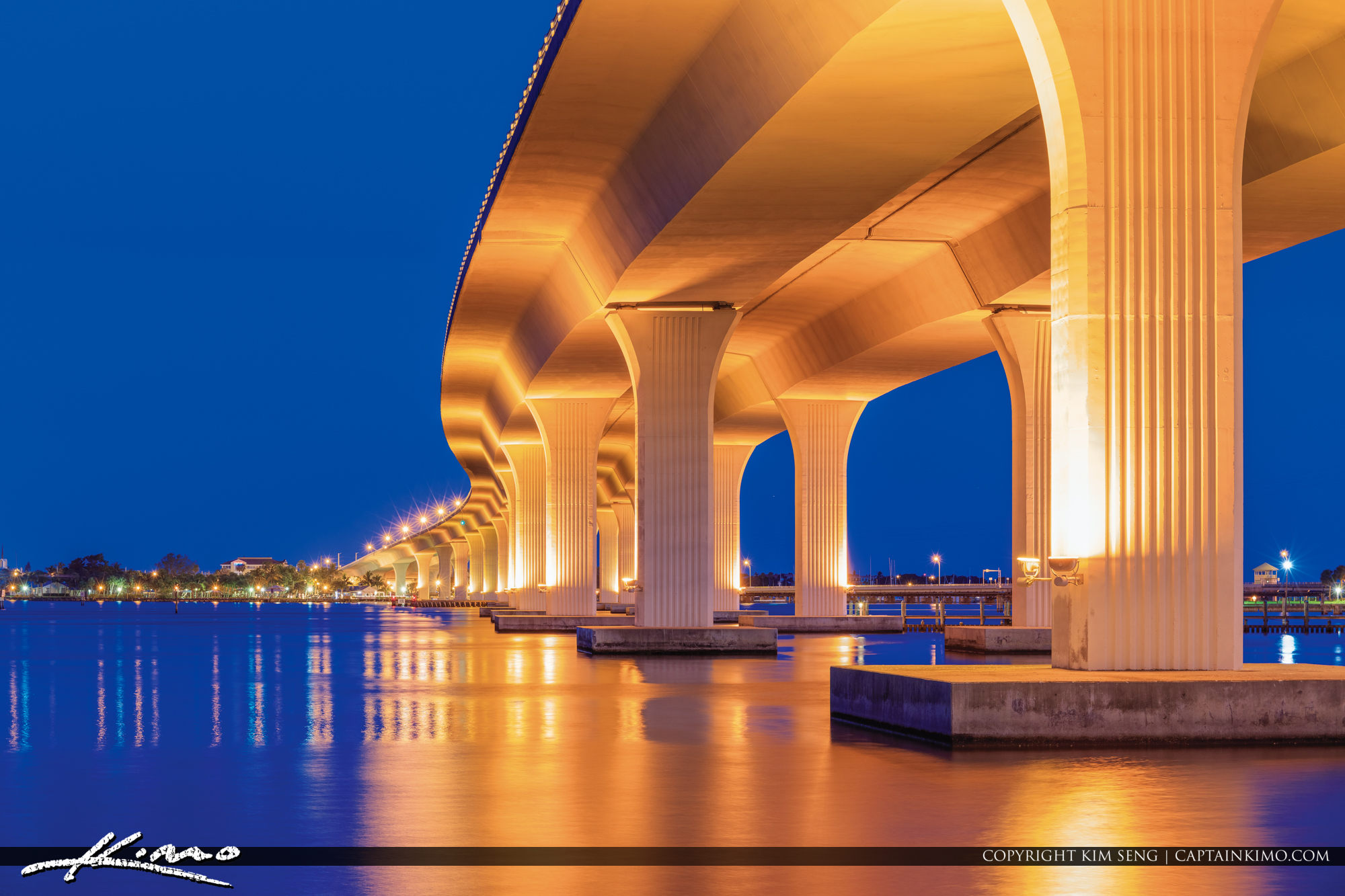 Roosevelt Bridge Stuart Florida Smooth Water Blue Twilight Sky