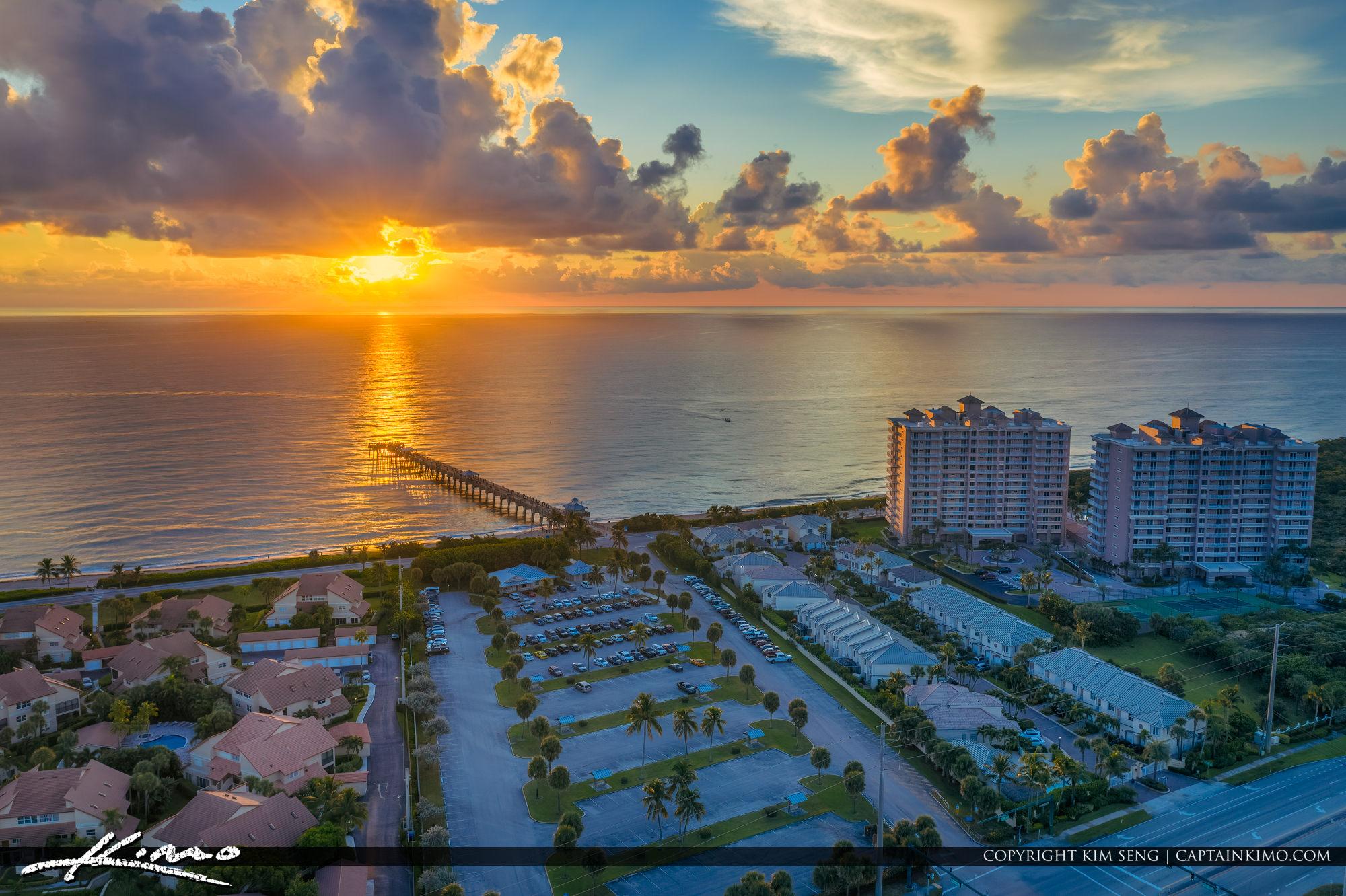 Golden Sunrise Juno Beach Pier Florida Aerial