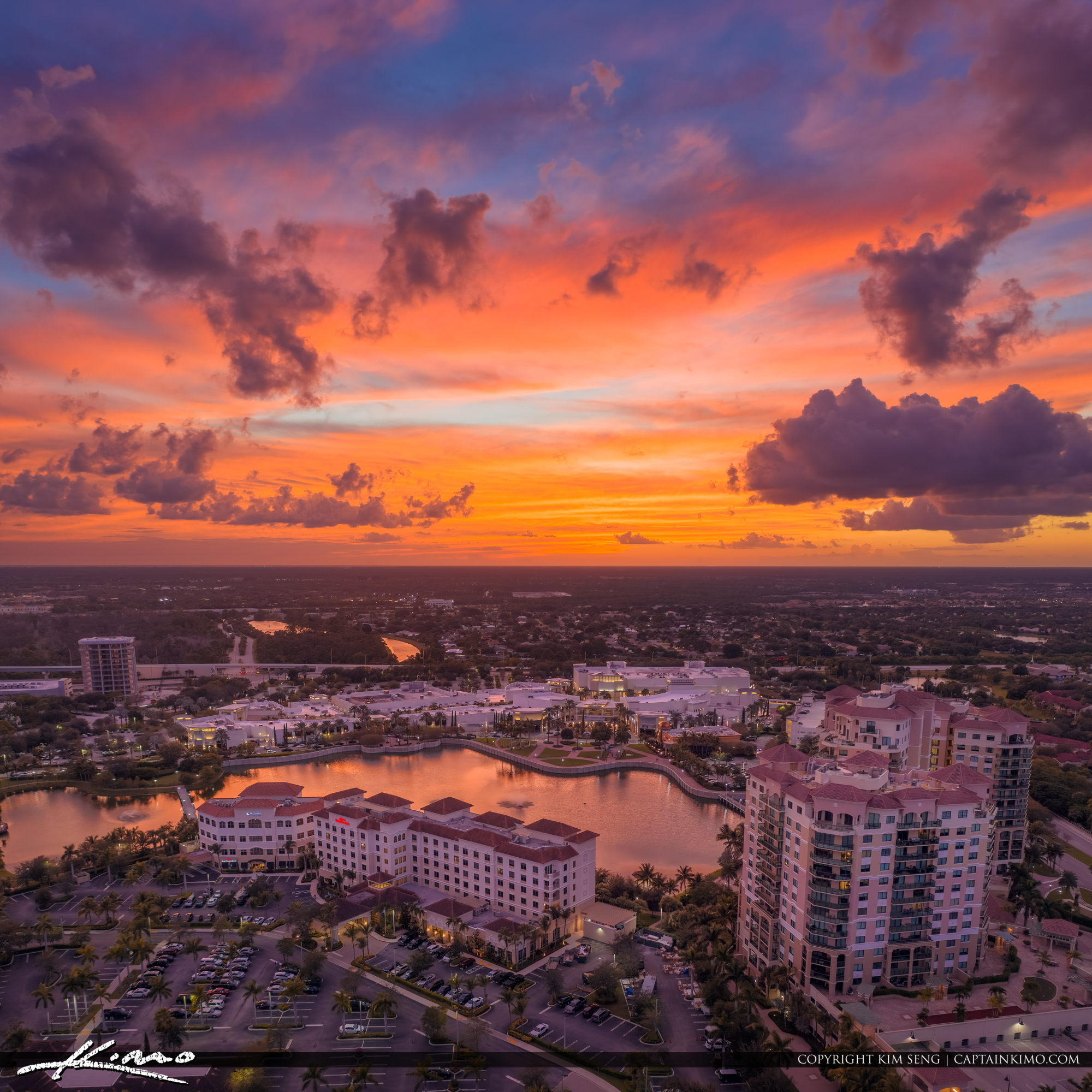 Palm Beach Gardens Sunset Over Hilton Landmark Real Estate