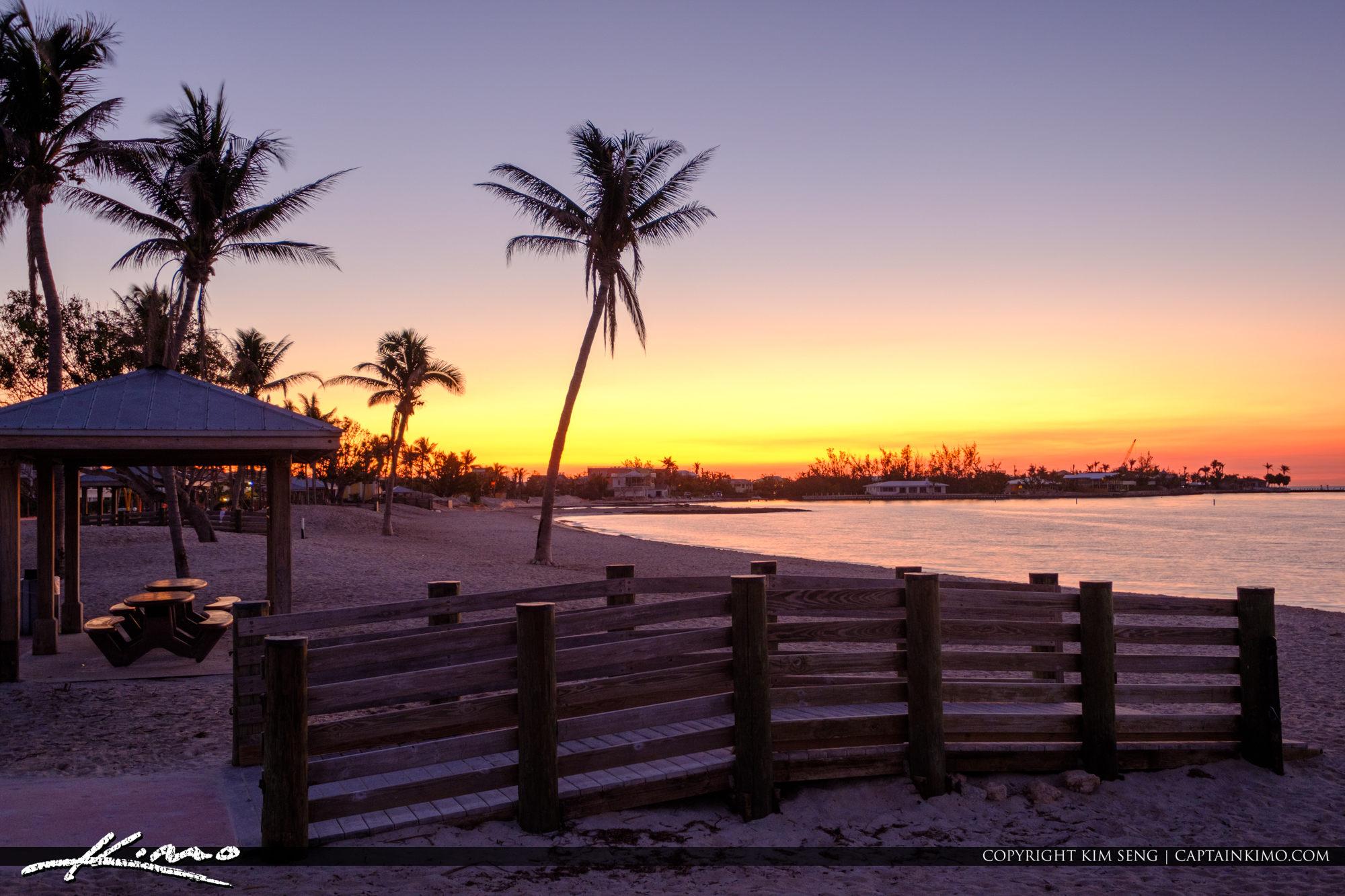 Boardwalk at Beach Sunset Sombrero Beach Marathon Florida Keys