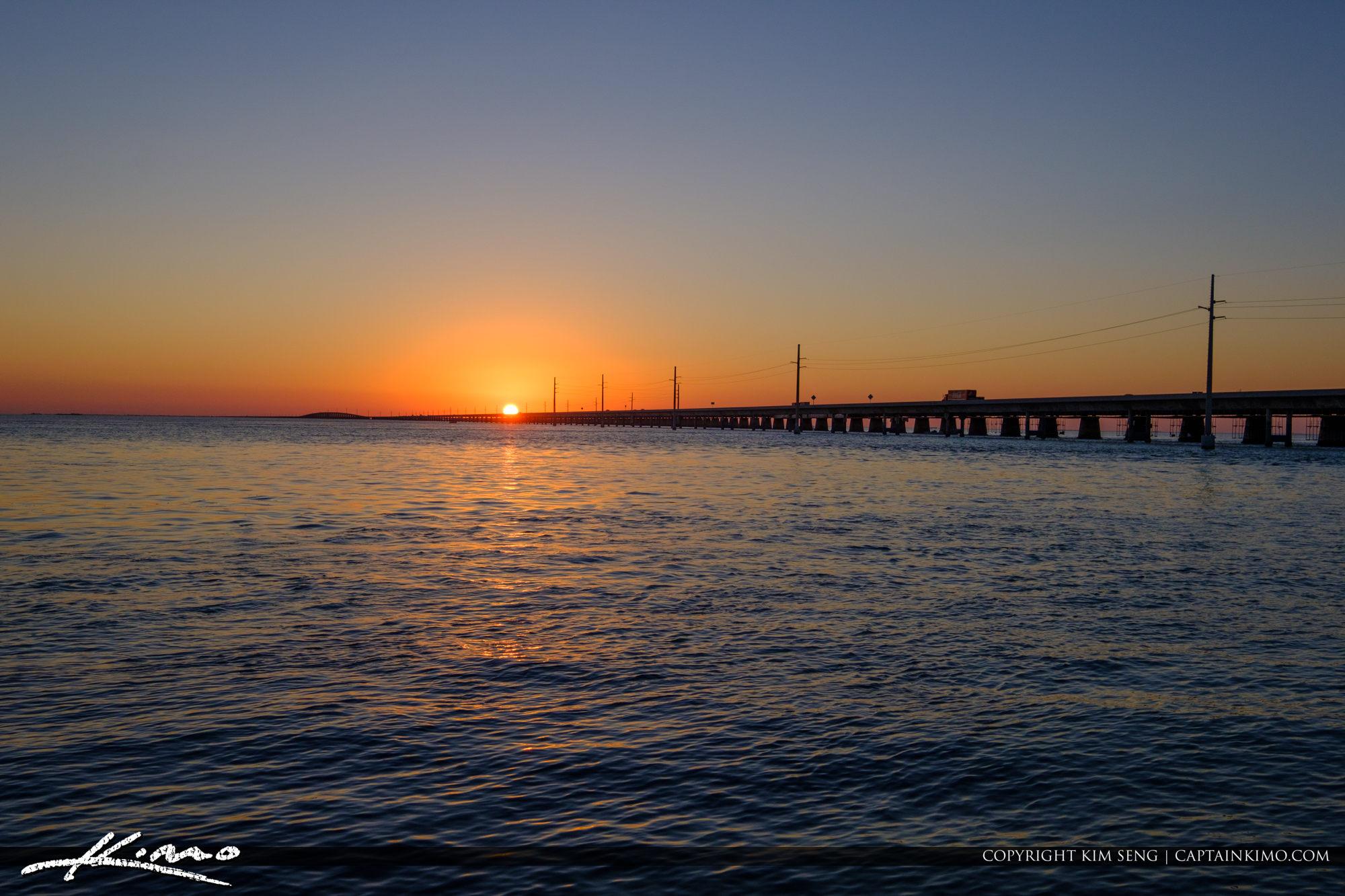 Sunset Over Seven Mile Bridge Marathon Florida Keys