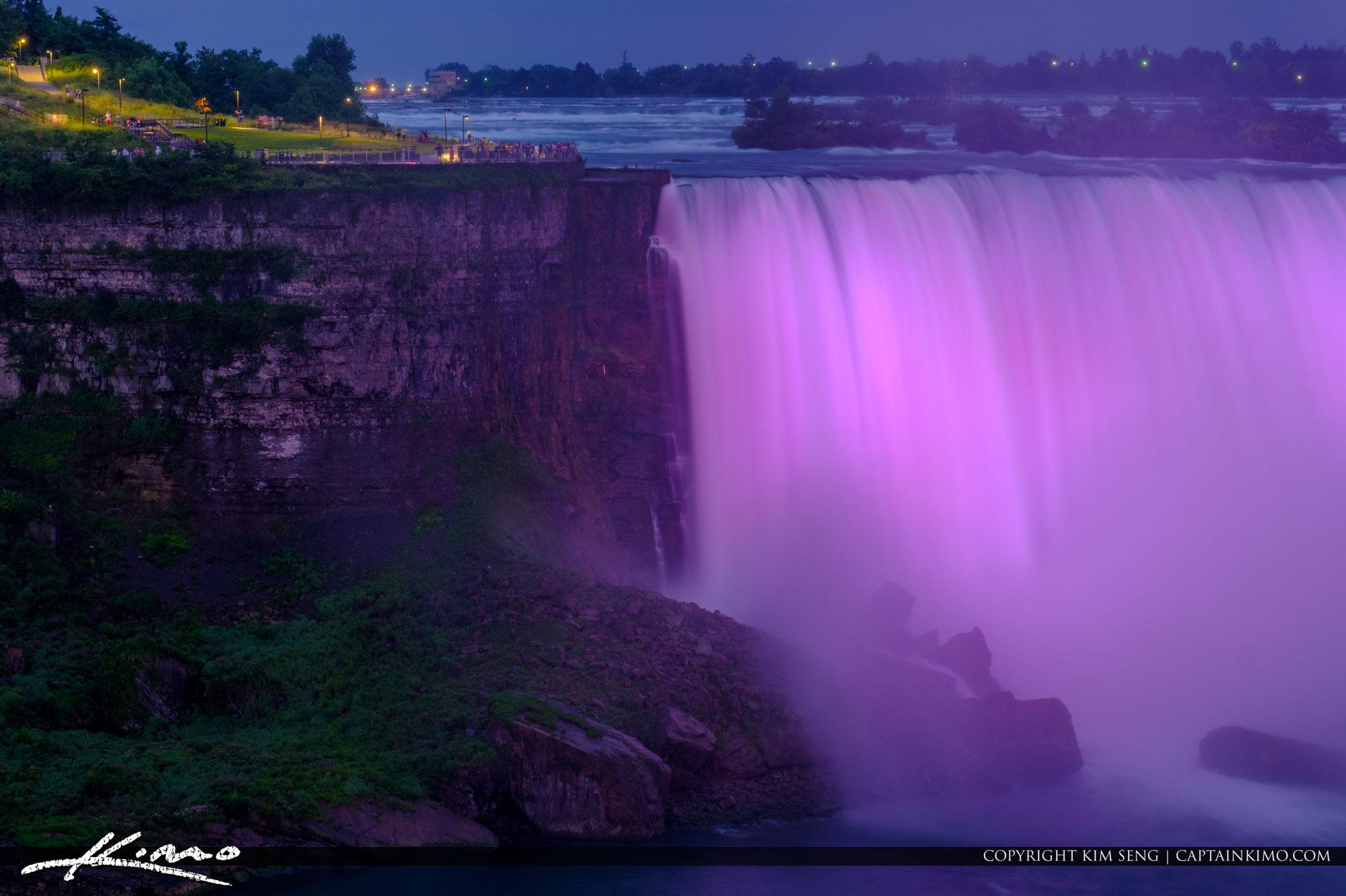 Niagara Falls Light Show Nighttime Canada Ameican Side