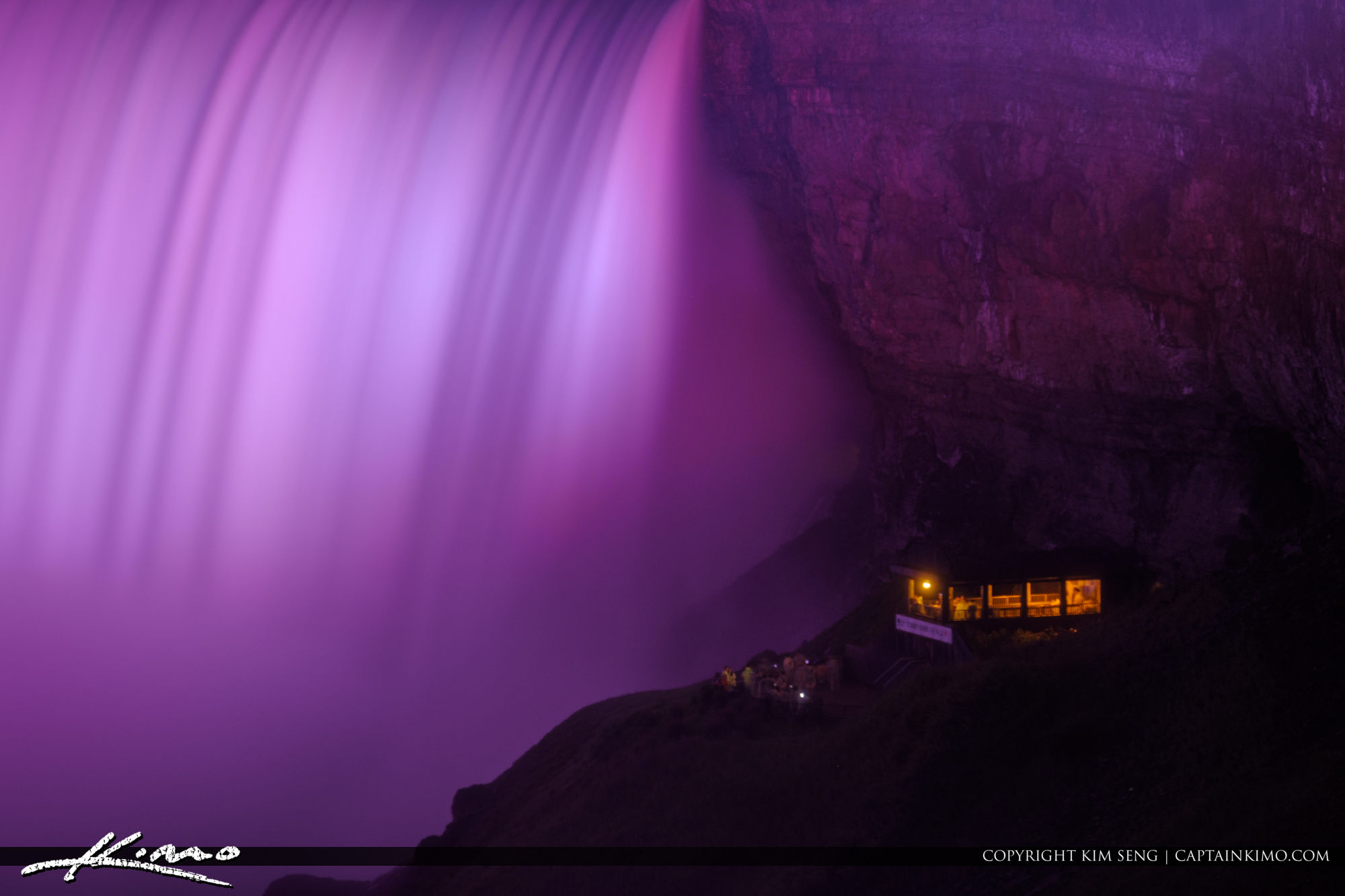 Purple Lightshow Niagara Falls Light Show Nighttime Canada