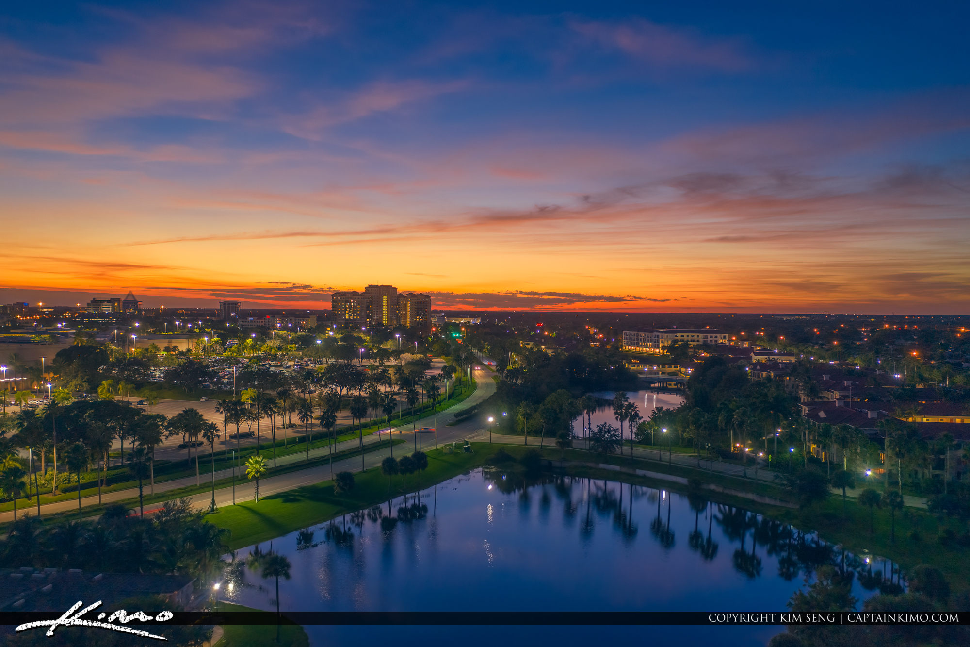 Palm Beach Gardens Sunset Over Lake Behind Gardens Mall