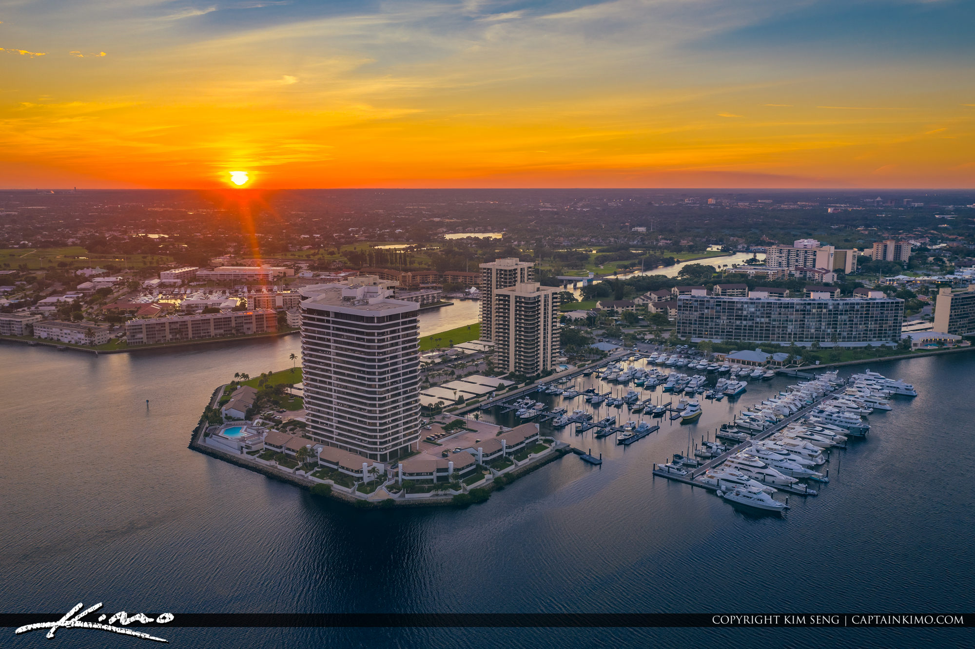 Old Port Cove Marina North Palm Beach Aerial Photography Sunset