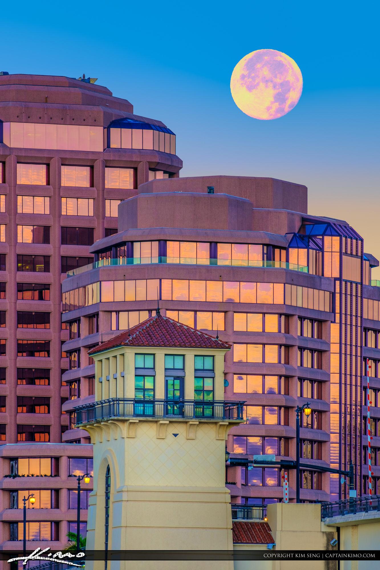 West Palm Beach Moon Set Phillips Point Building