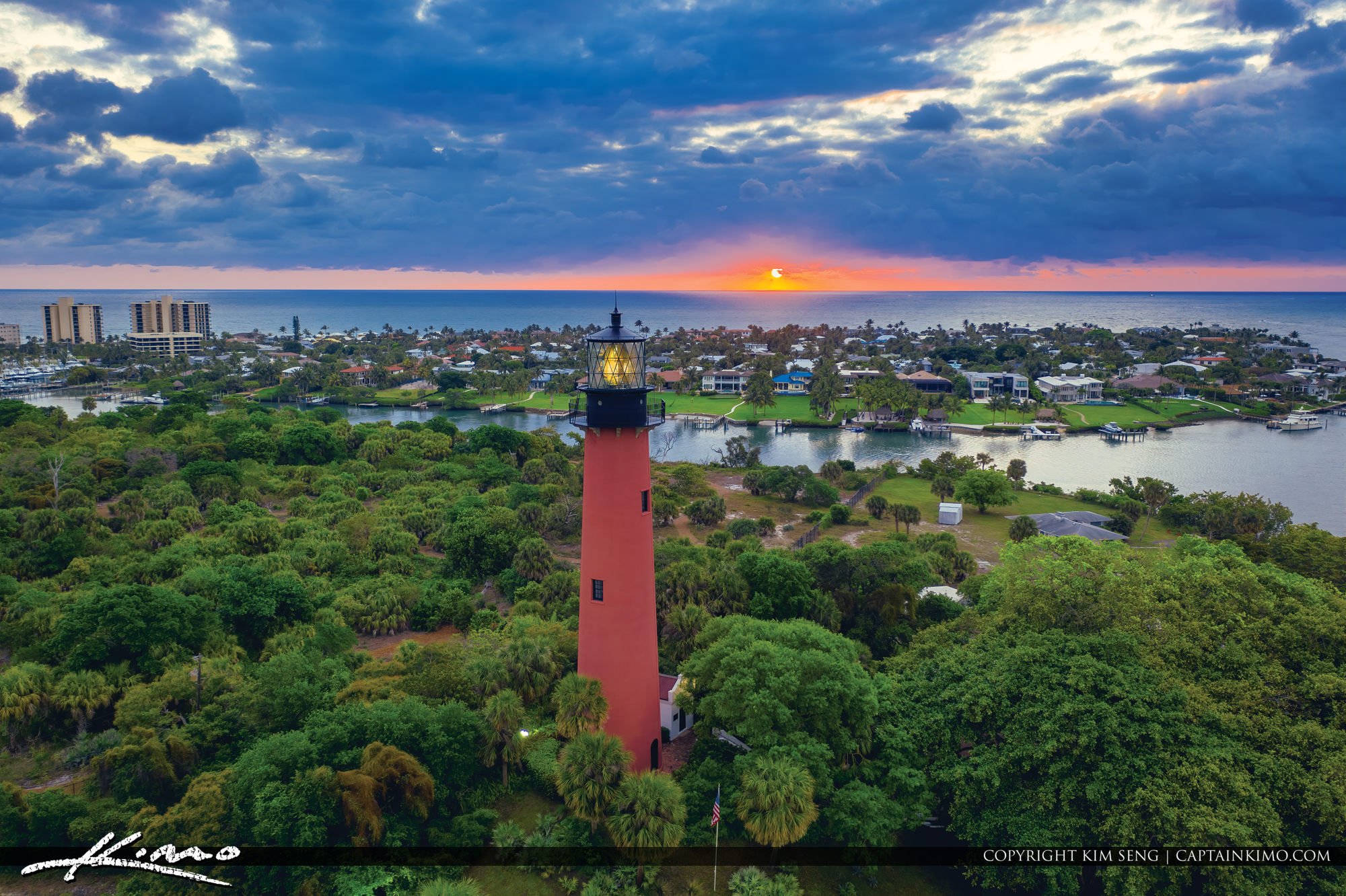 Jupiter Lighthouse Sunrise from Aerial View