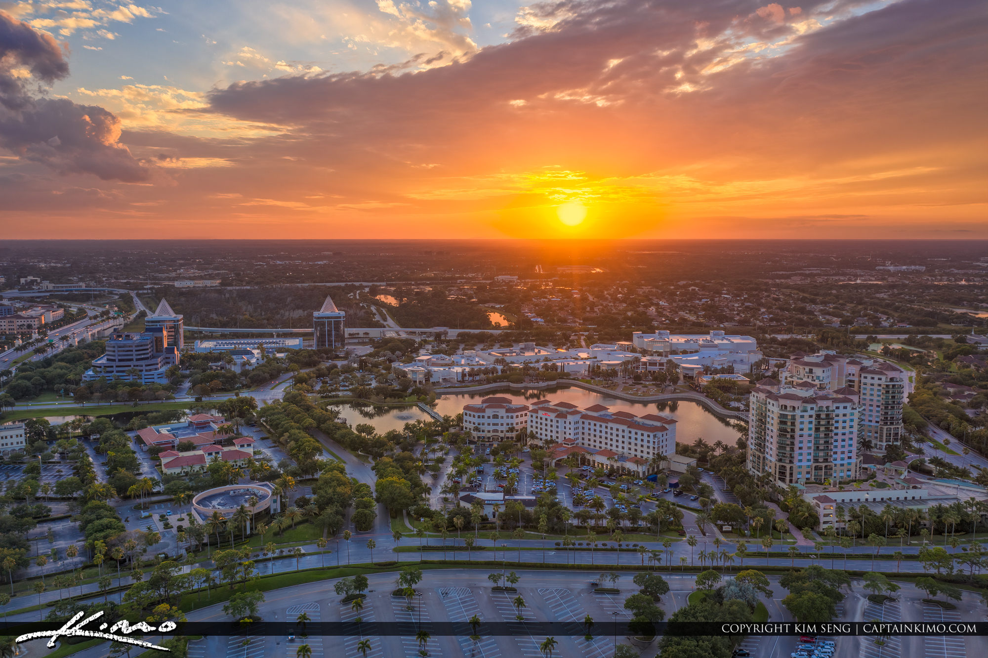 Palm Beach Gardens Sunset Over Downtown at the Gardens
