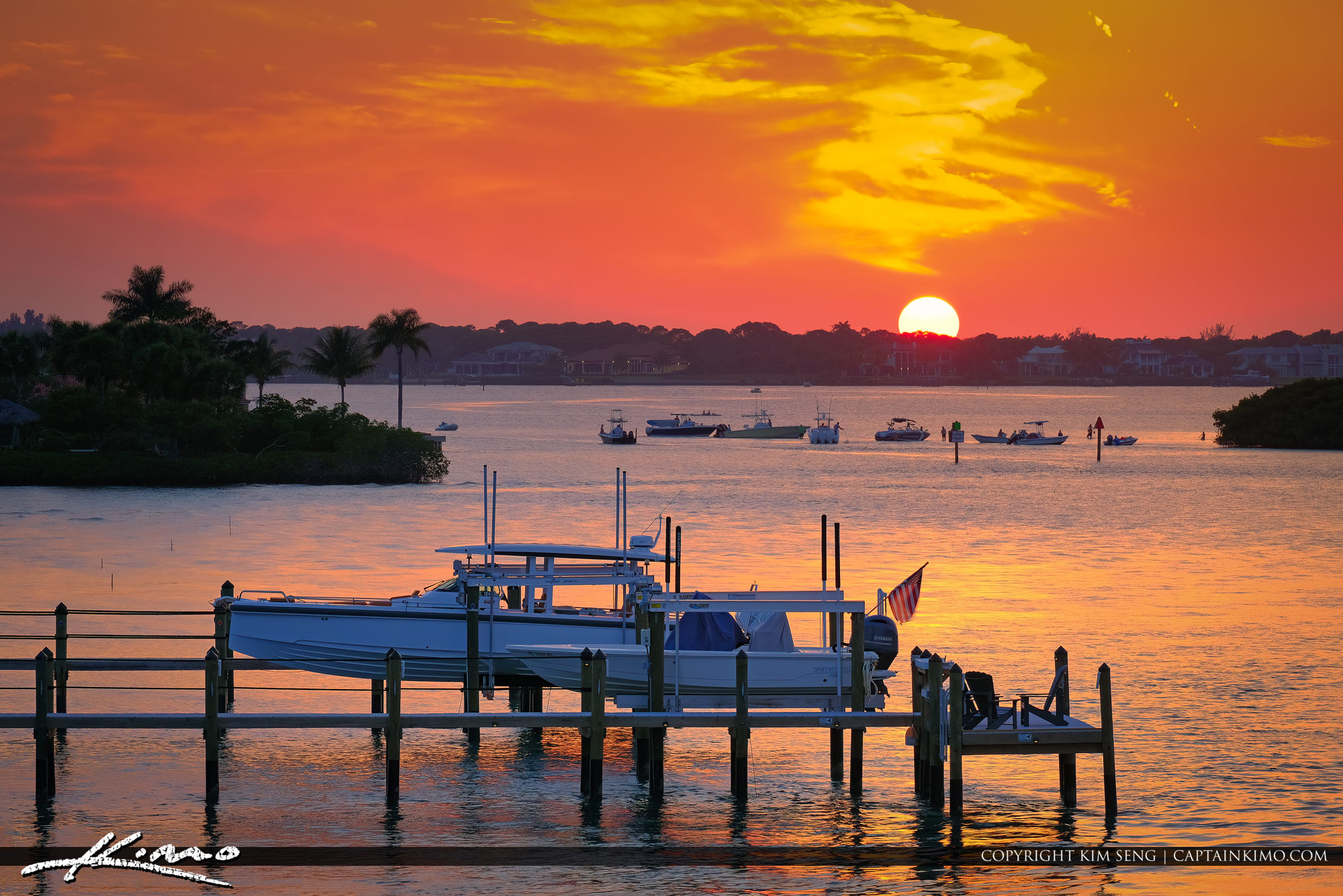 Sunset Loxahatchee River Boaters at Sandbar Jupiter Florida