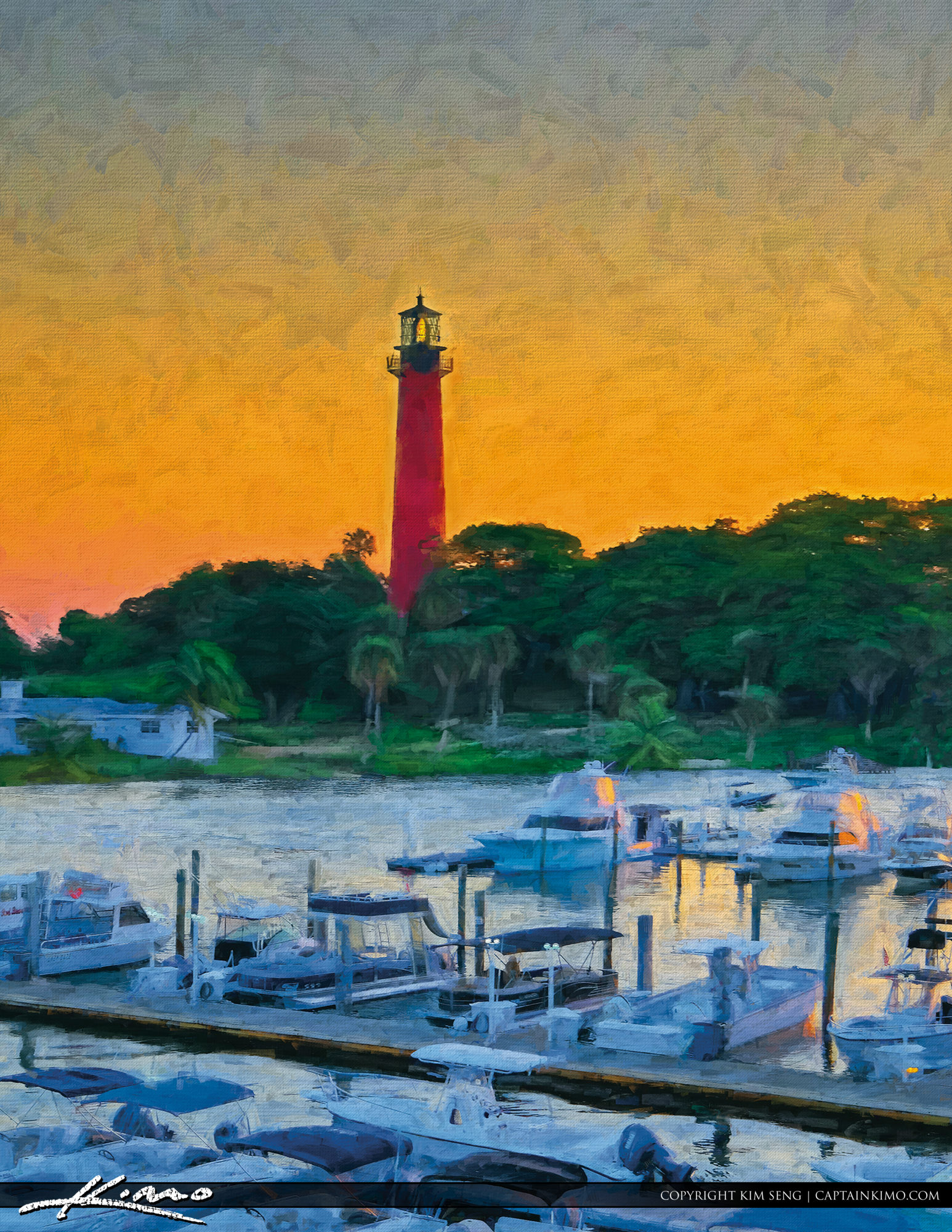 Jupiter Lighthouse Digital Painting Sunrise