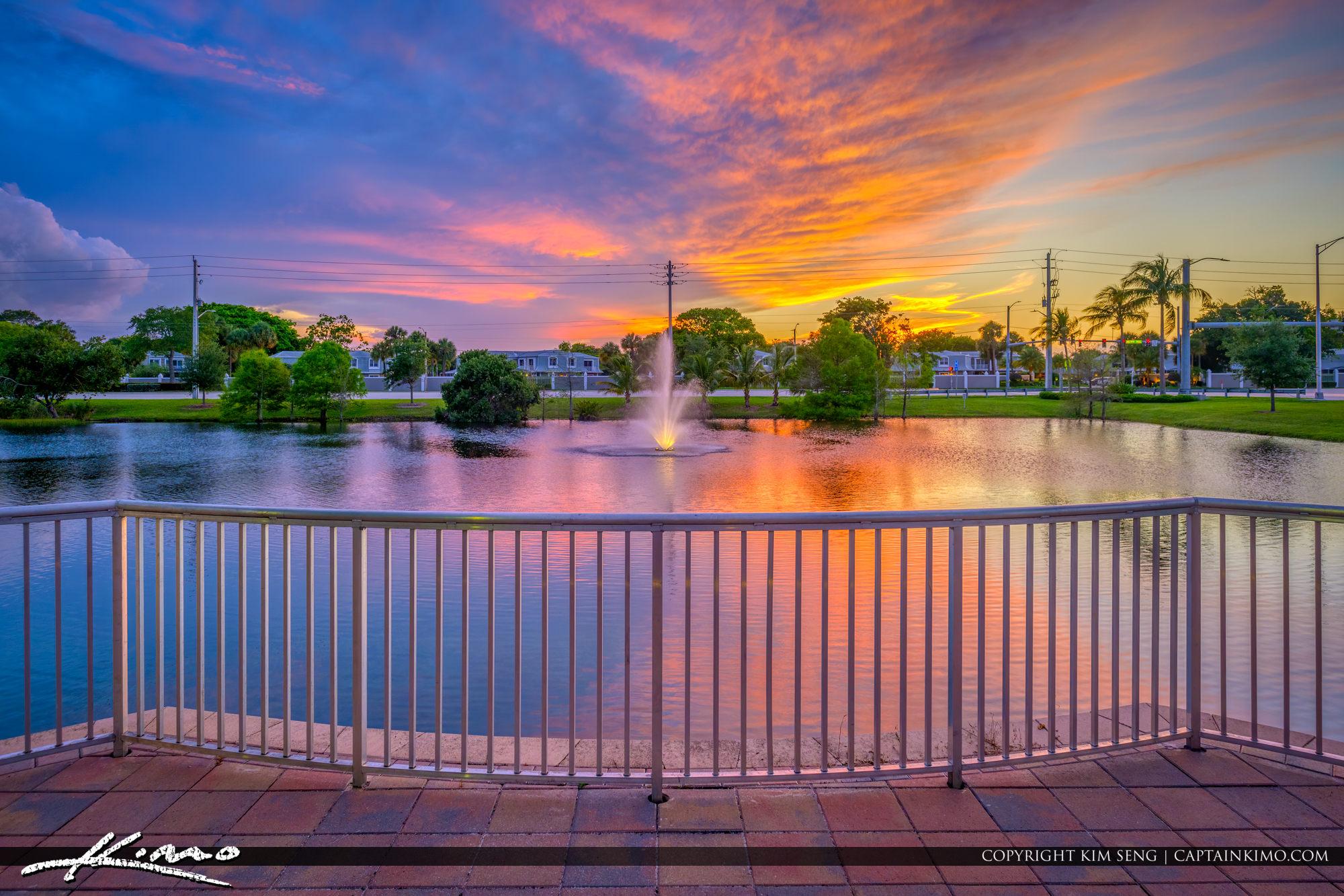 City of Palm Beach Gardens Recreation Water Fountain Sunset