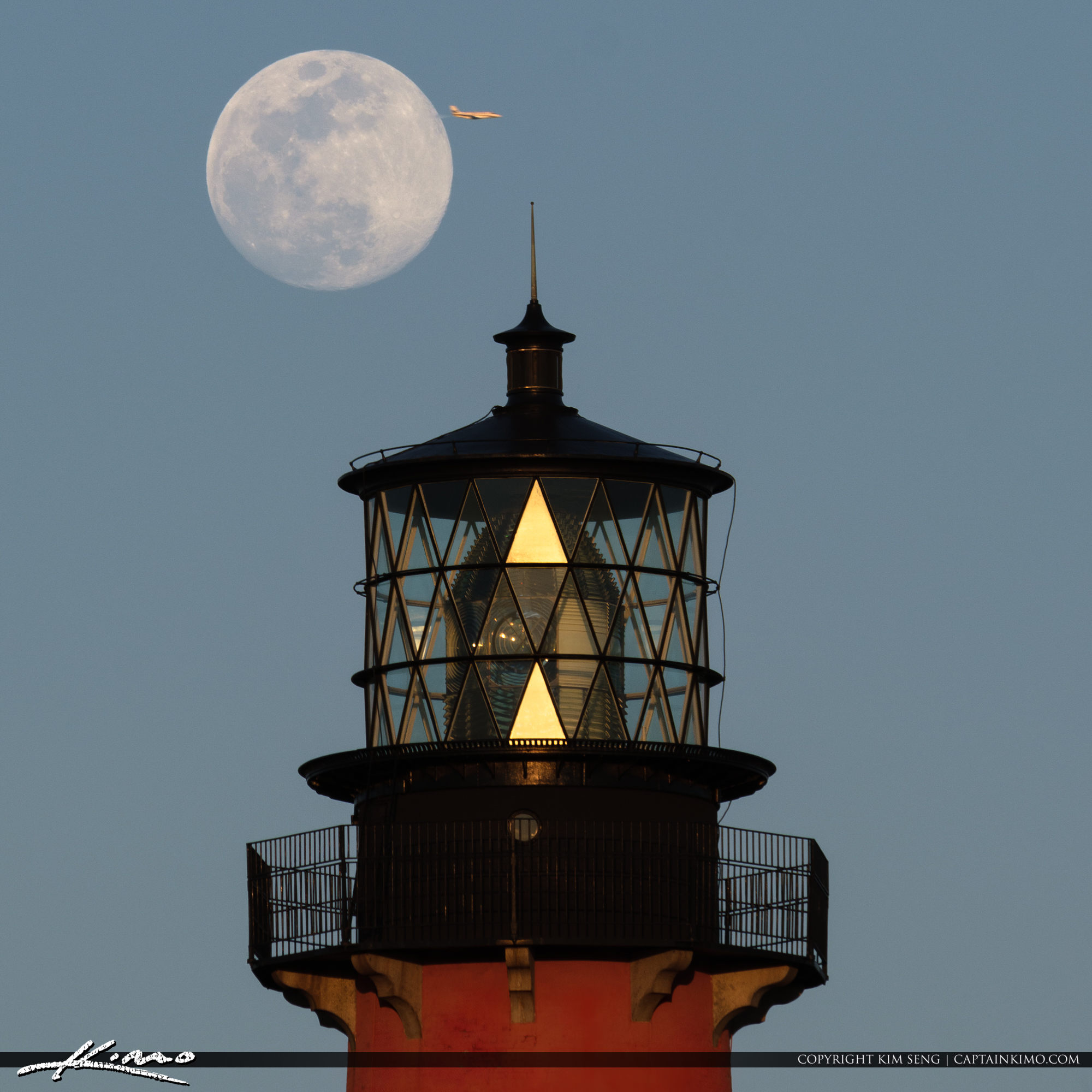 Jupiter Lighthouse Moonrise Airplane Flyby