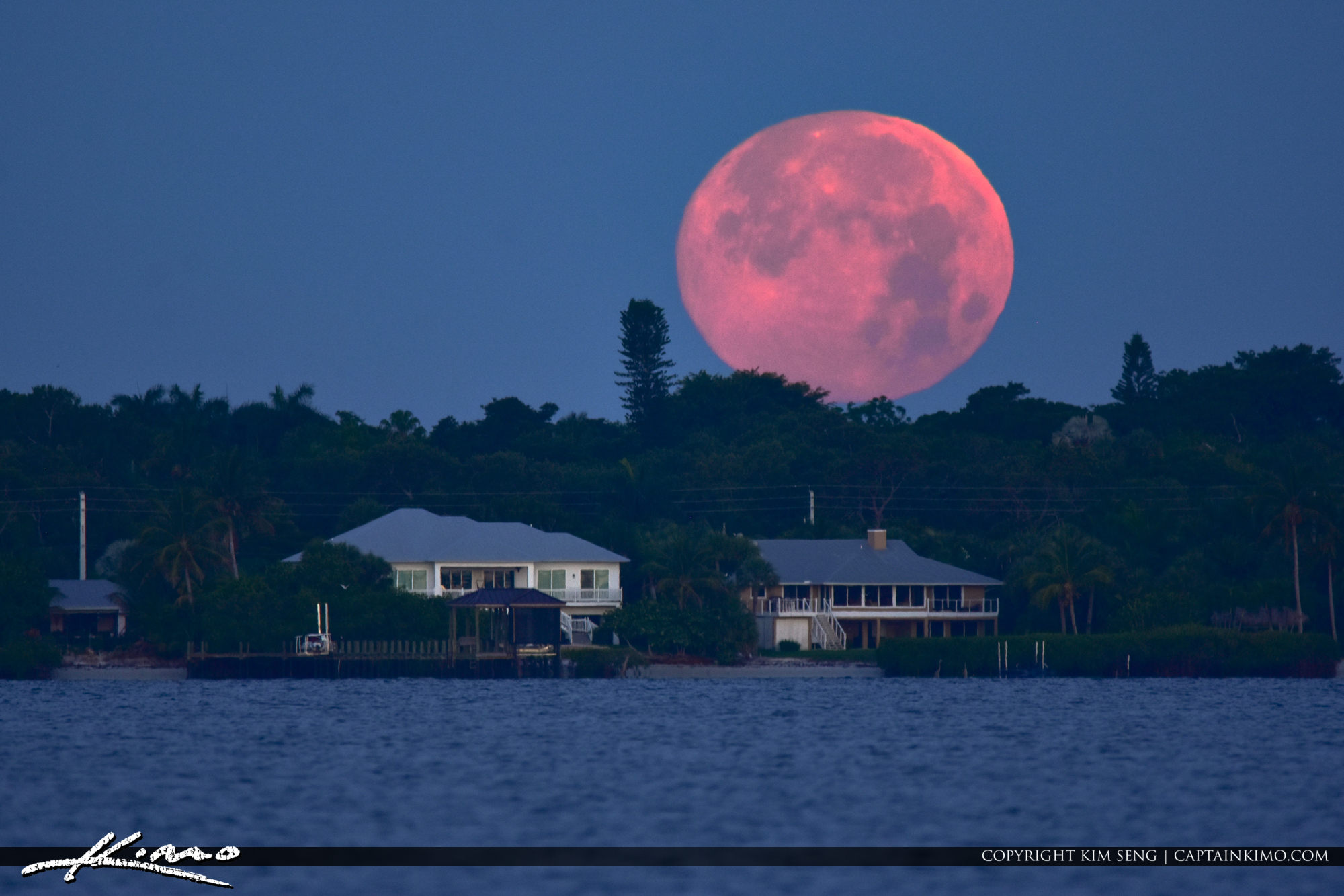 Sewalls Point Moon Set from Hutchinson Island