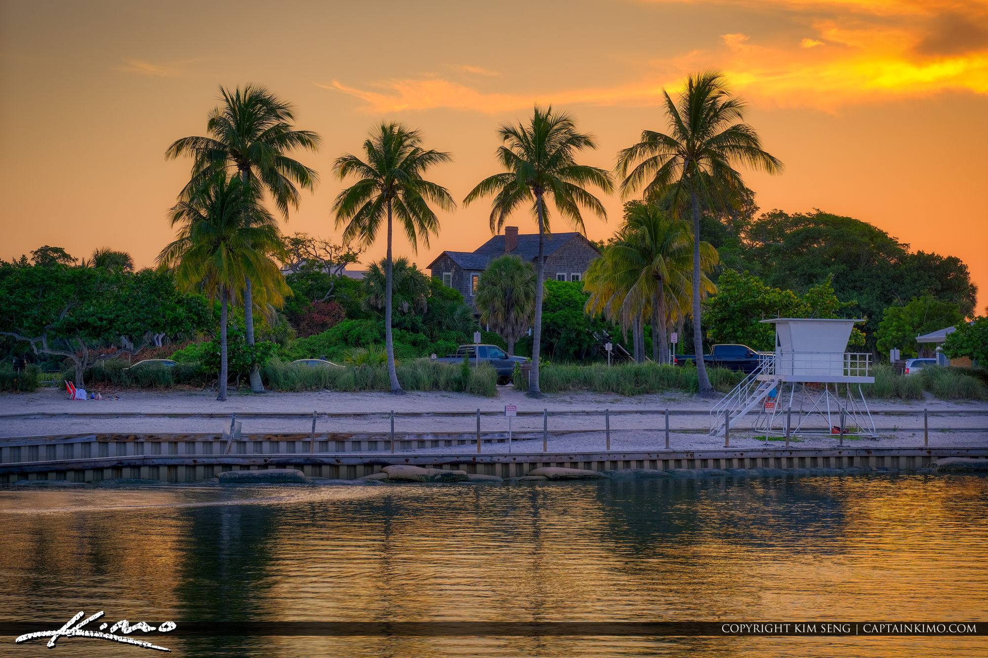 Sunset Dubois Park with Coconut Trees at Lagoon