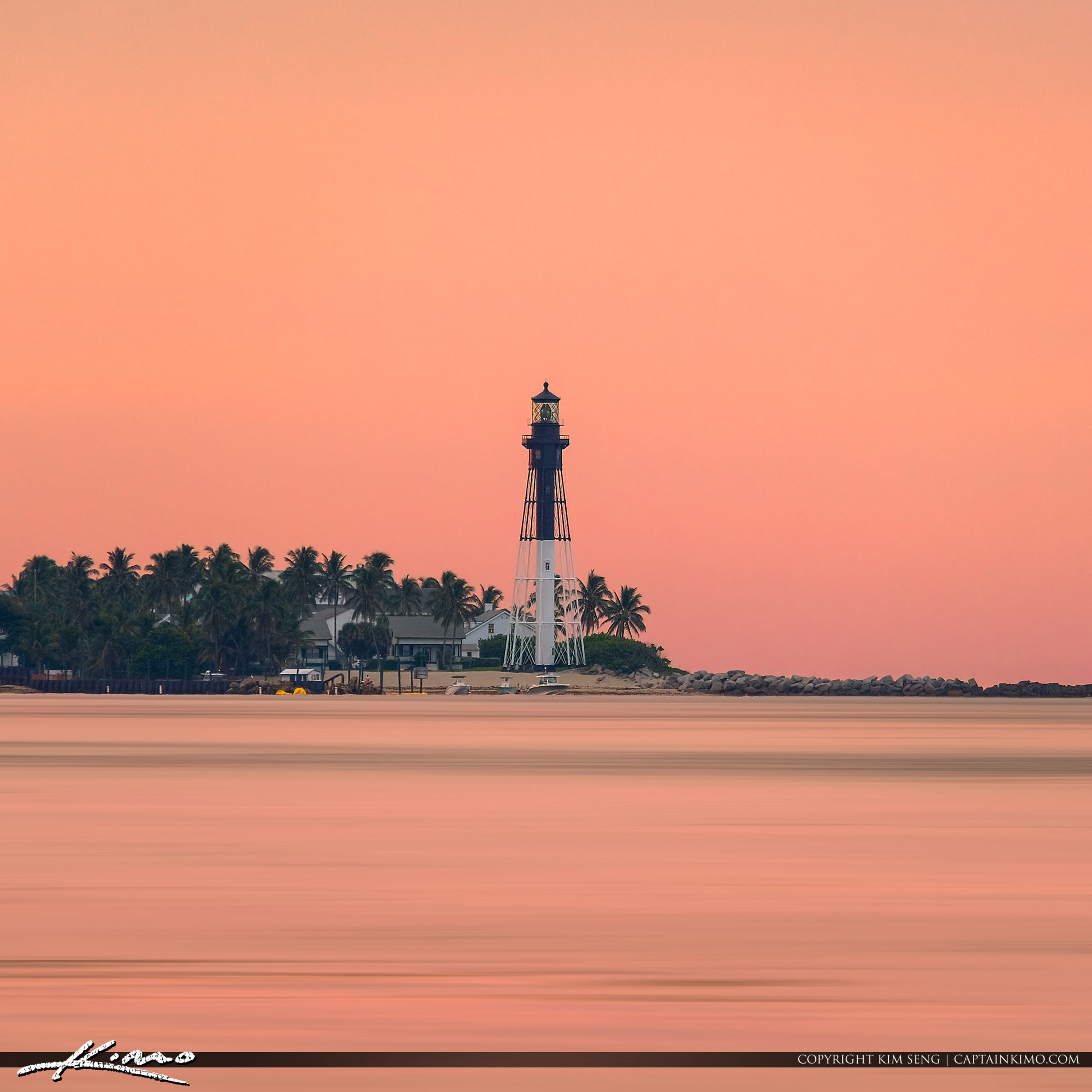 Hillsboro Lighthouse Pink Sky at Sunset