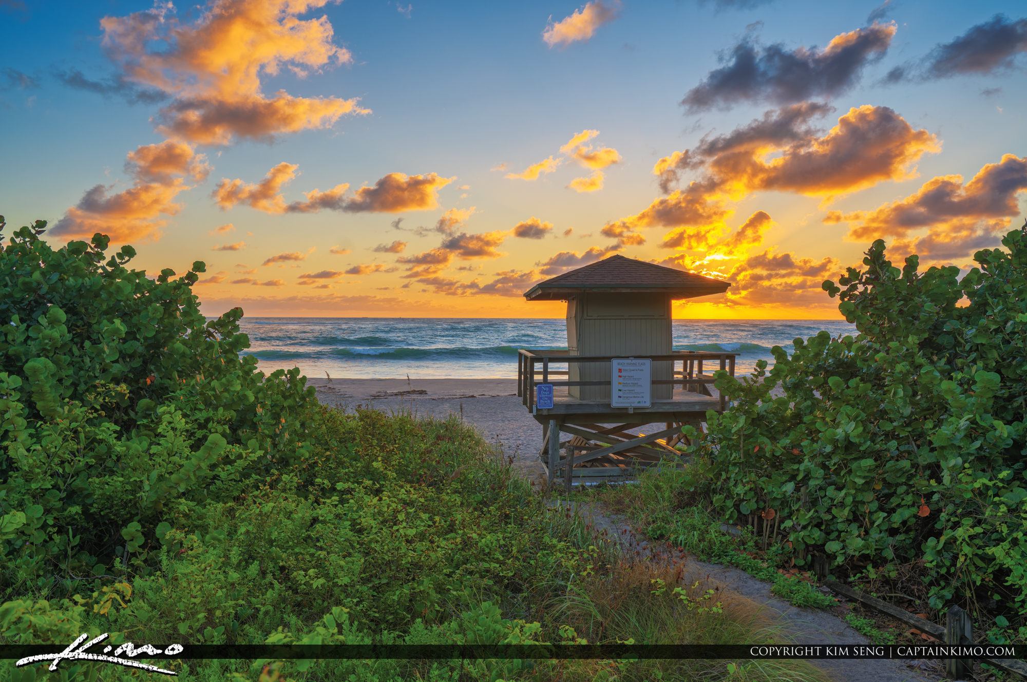Jupiter Beach Park Sunrise at the Inlet Lifeguard Tower