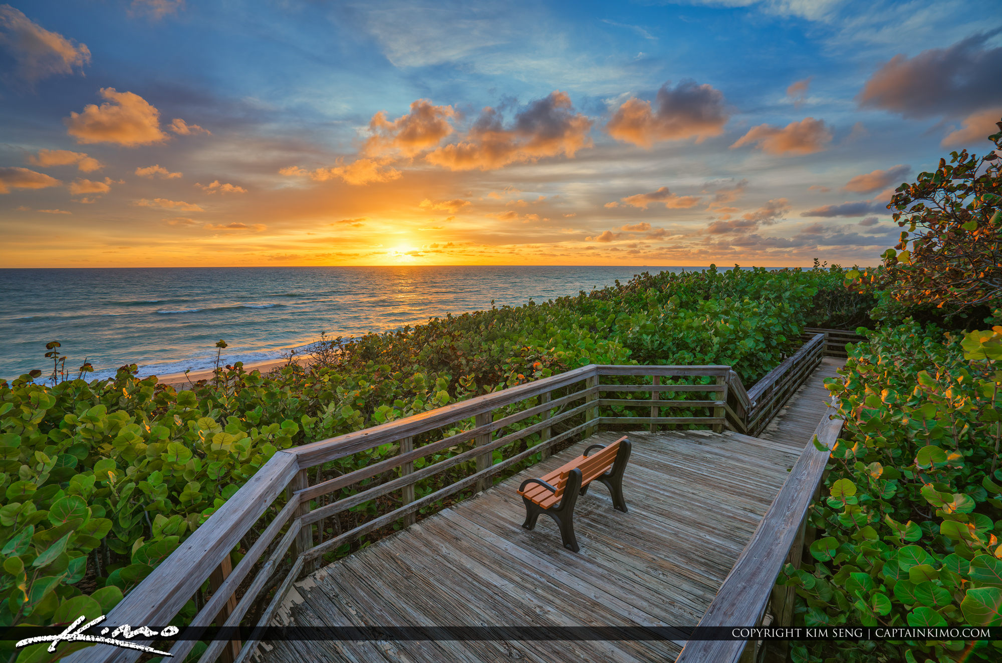 Jupiter Beach Access 48 Sunrise at the Boardwalk Bench