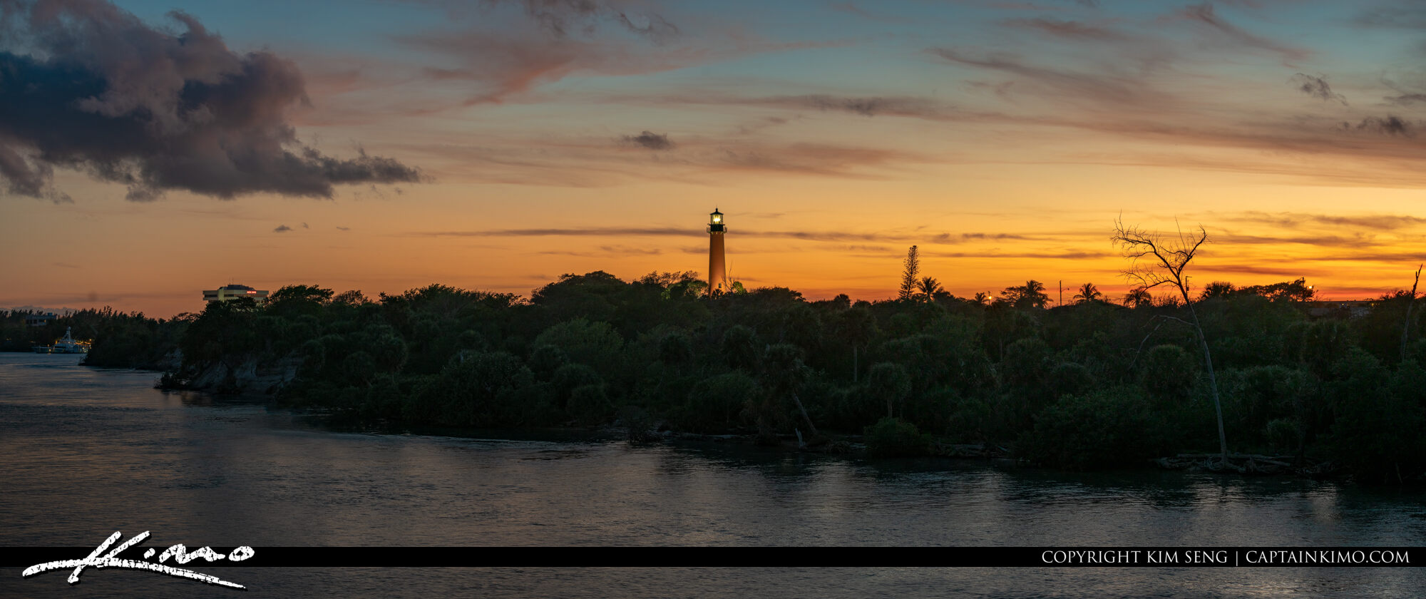Jupiter Lighthouse Sunset Waterway Pano View