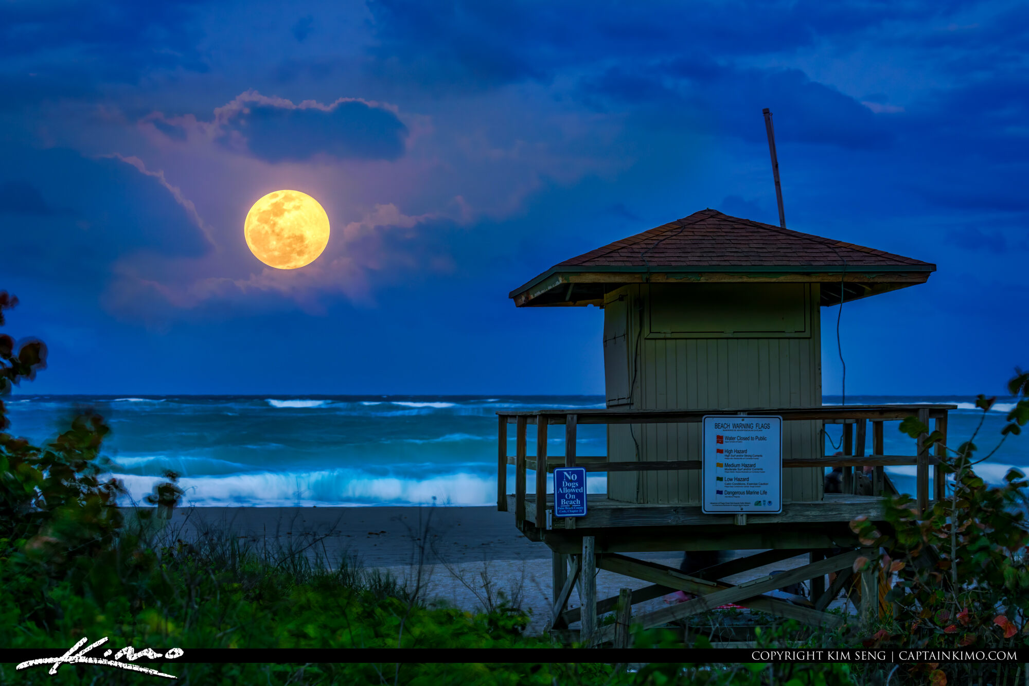 Full Moon at Jupiter Beach Atlantic Ocean