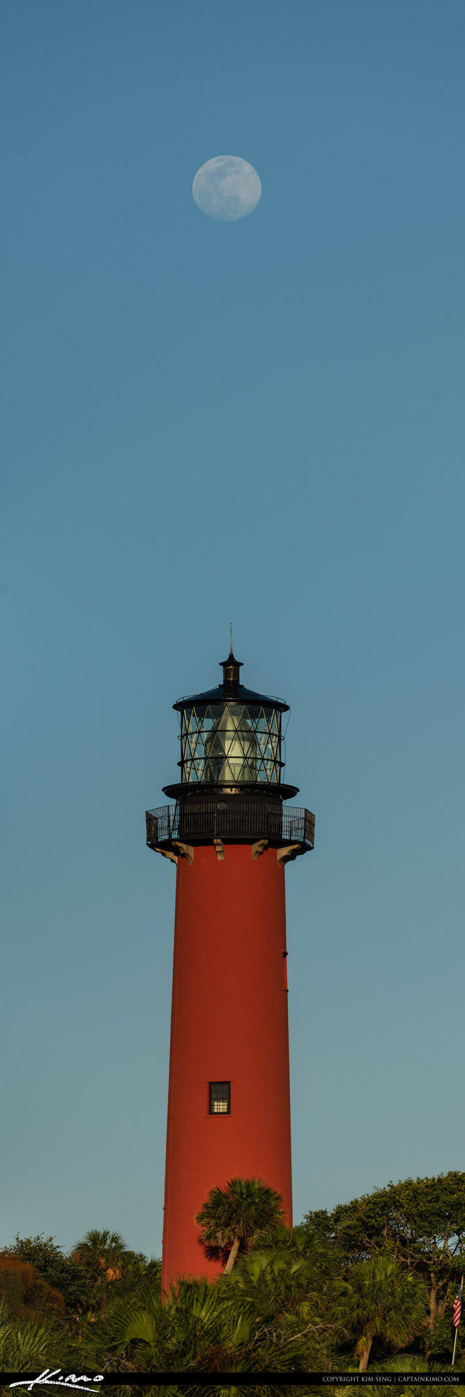 Jupiter Lighthouse Moon Rise Vertical Panoramic View