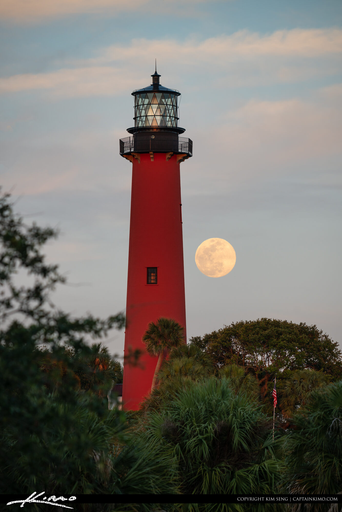 Jupiter Lighthouse May 6 2020 Moon Rising
