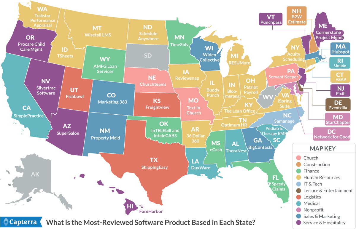 US Map of most reviewed software product based in each state