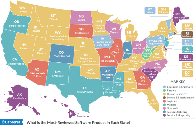 US Map of most reviewed software product in each state