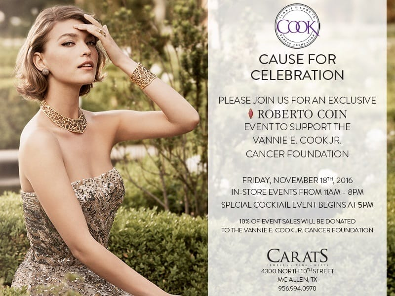 Roberto Coin Supporting Vannie COok Foundation at Carats!