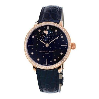 Slimline Ladies Moonphase Blue Dial - Frederique Constant