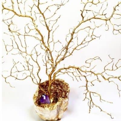 Gilded Seafan on Brass Pedestals