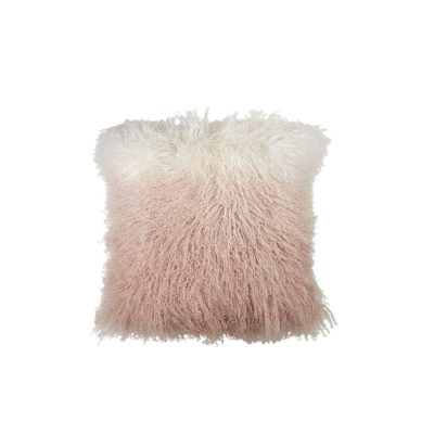 "Dip Dye Curly Sheepskin Pillow, 18"" x 18"""