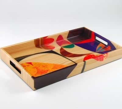 "Small Breakfast Tray; 11""X19.5""X 2' H, Rex Ray Chloe Inlay"