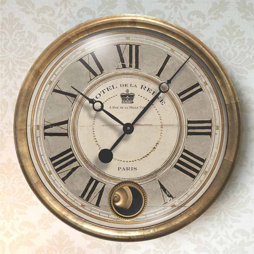 Hotel De La Reine Gray 16 Wall Clock With Internal Pendulum