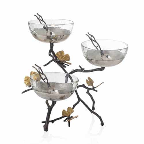 Butterfly Ginkgo Triple Bowl Set - Triple Bowl Set - Carats Jewelry and Gifts