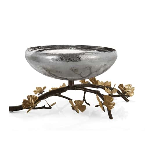 Butterfly Ginkgo Footed Centerpiece Bowl - Carats Jewelry and Gifts