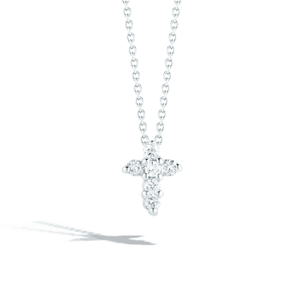 18k Baby Cross Necklace with Diamonds .11cts