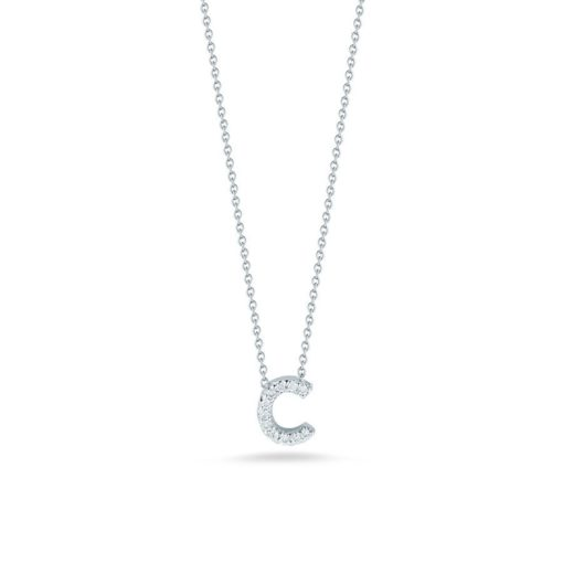 Roberto Coin 18K White Gold Tiny Treasures Diamond Letter C Pendant