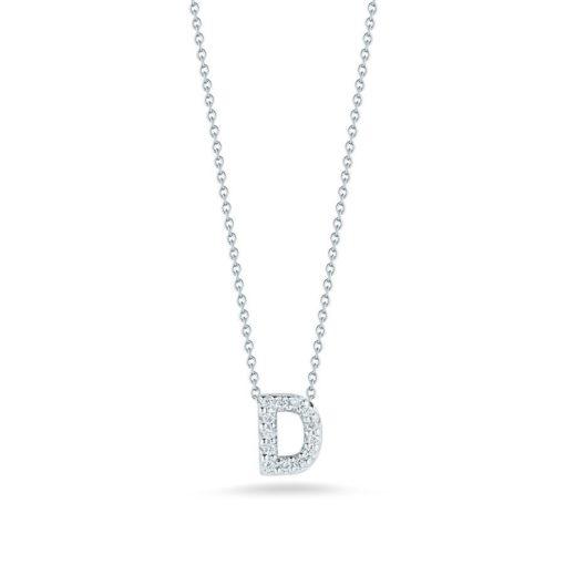 Roberto Coin 18K White Gold Tiny Treasures Diamond Letter D Pendant